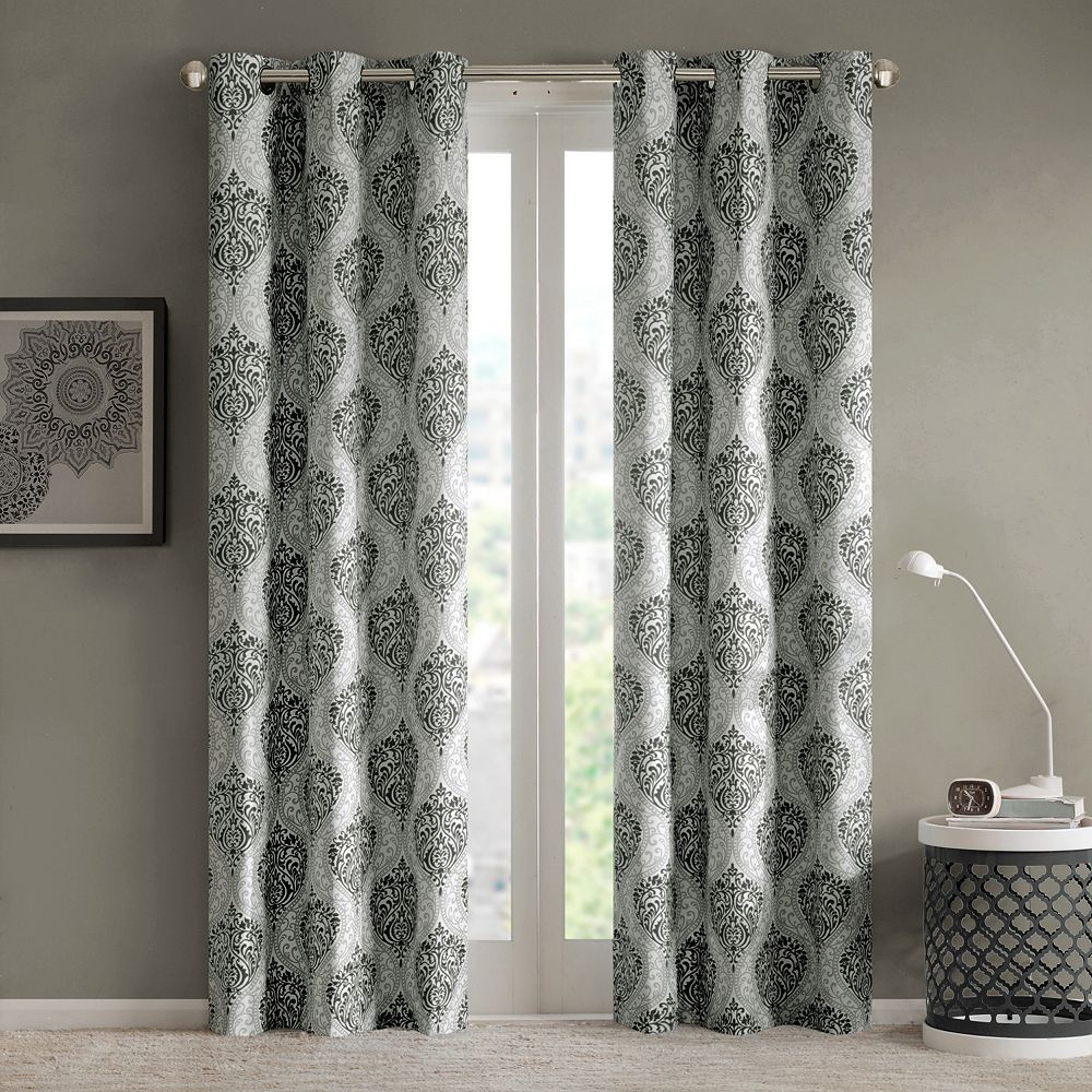 Intelligent Design 2 Pack Lilly Damask Printed Window Throughout Pastel Damask Printed Room Darkening Grommet Window Curtain Panel Pairs (View 8 of 20)