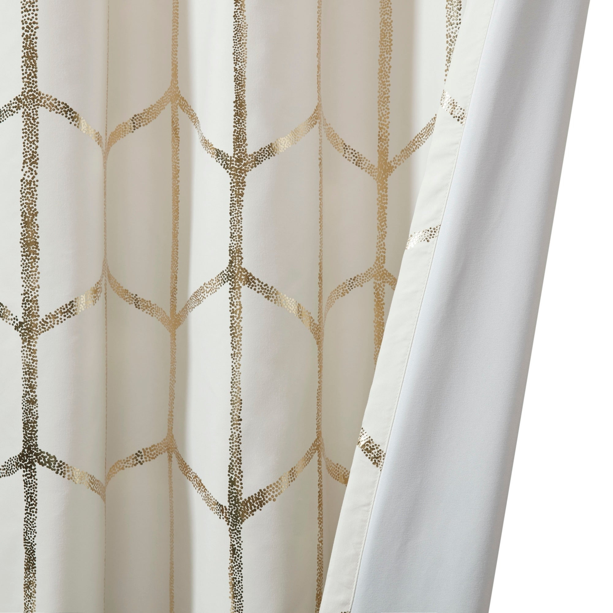 """Intelligent Design Khloe Total Blackout Metallic Print Grommet Top Curtain Panel 84"""" In Blush/ Gold (as Is Item) Intended For Total Blackout Metallic Print Grommet Top Curtain Panels (View 20 of 36)"""