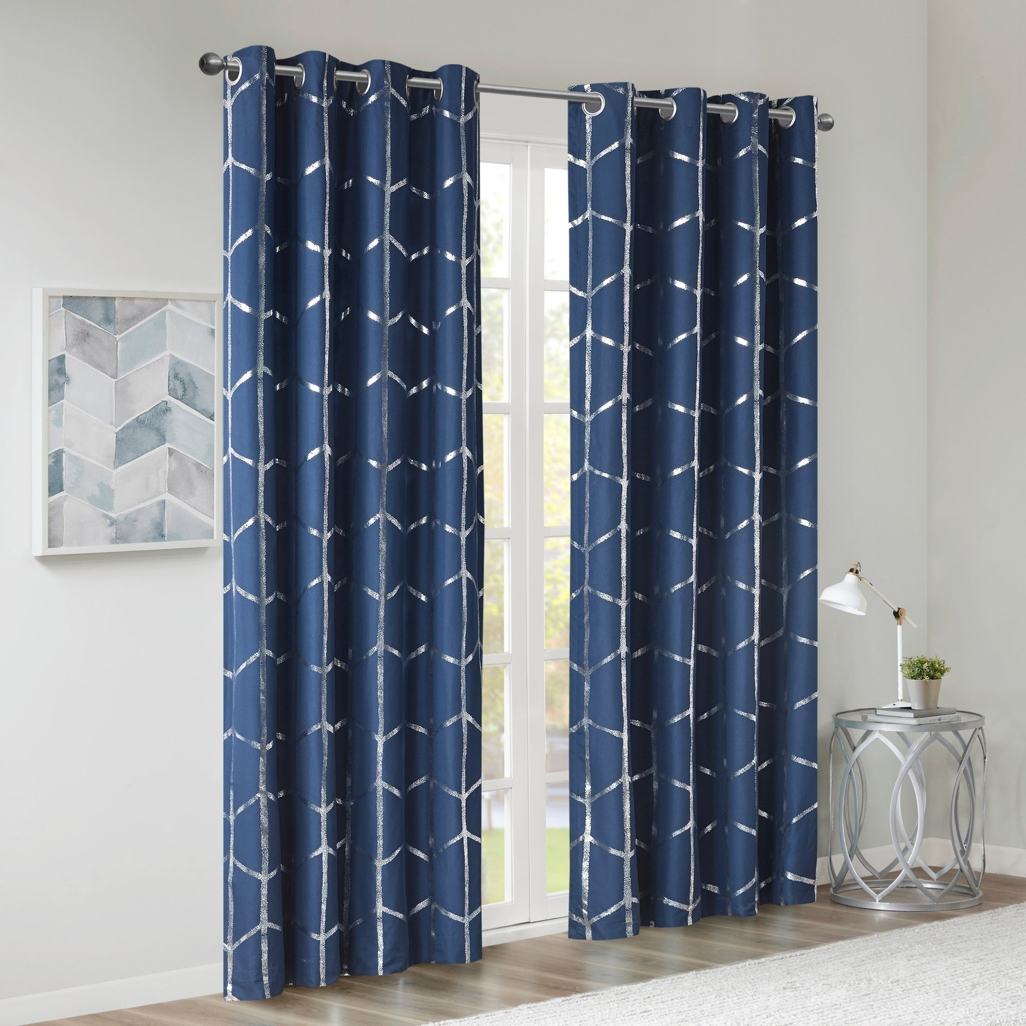 Intelligent Design Khloe Total Blackout Metallic Print Grommet Top Curtain Panel Pertaining To Total Blackout Metallic Print Grommet Top Curtain Panels (View 5 of 36)