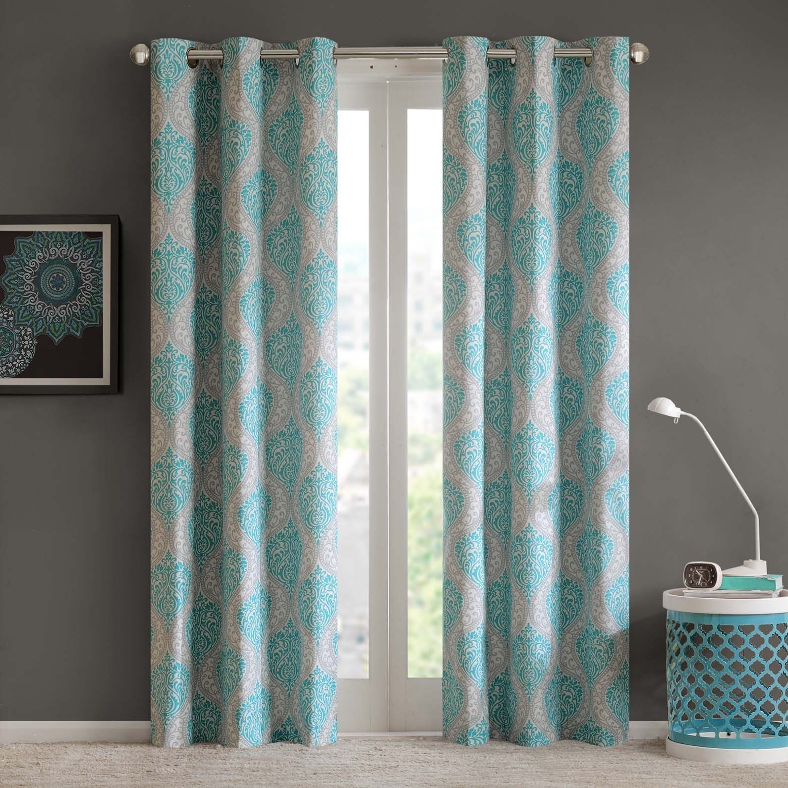Intelligent Design Sydney Damask Printed Grommet Top Window Curtain Panel Pair Pertaining To Pastel Damask Printed Room Darkening Grommet Window Curtain Panel Pairs (View 19 of 20)
