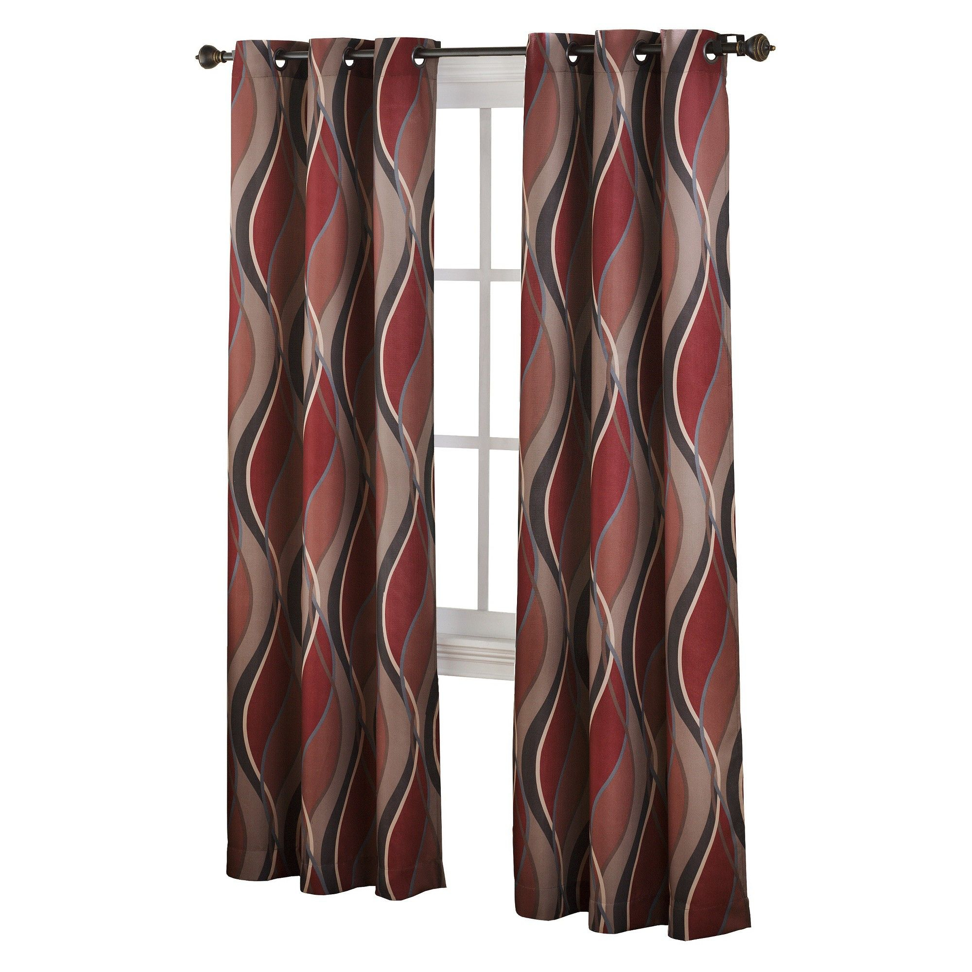 Intersect Wave Print Casual Textured Grommet Curtain Panel Regarding Intersect Grommet Woven Print Window Curtain Panels (View 4 of 20)