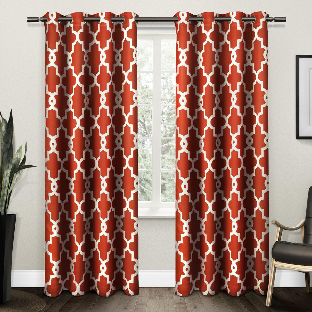 Ironwork Mecca Orange Sateen Woven Blackout Grommet Top Window Curtain Regarding Geometric Print Textured Thermal Insulated Grommet Curtain Panels (View 4 of 20)