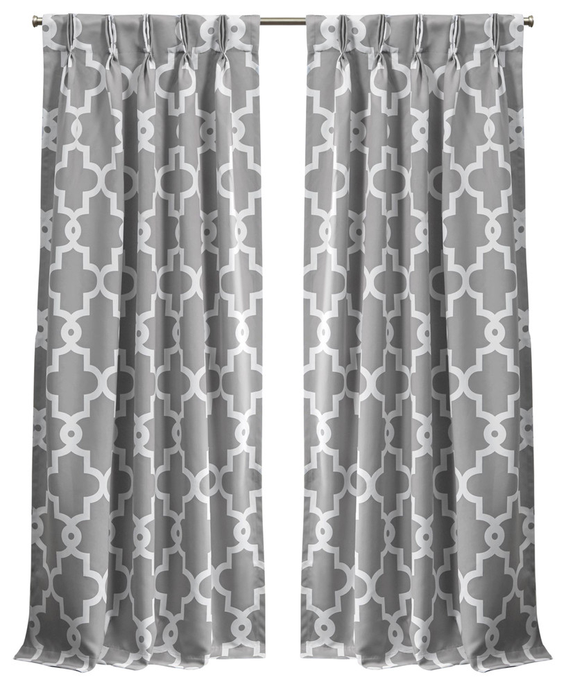 "Ironwork Sateen Woven Blackout Pinch Pleat Curtain Panel Pair, Silver, 84"" Inside Sateen Woven Blackout Curtain Panel Pairs With Pinch Pleat Top (View 16 of 20)"