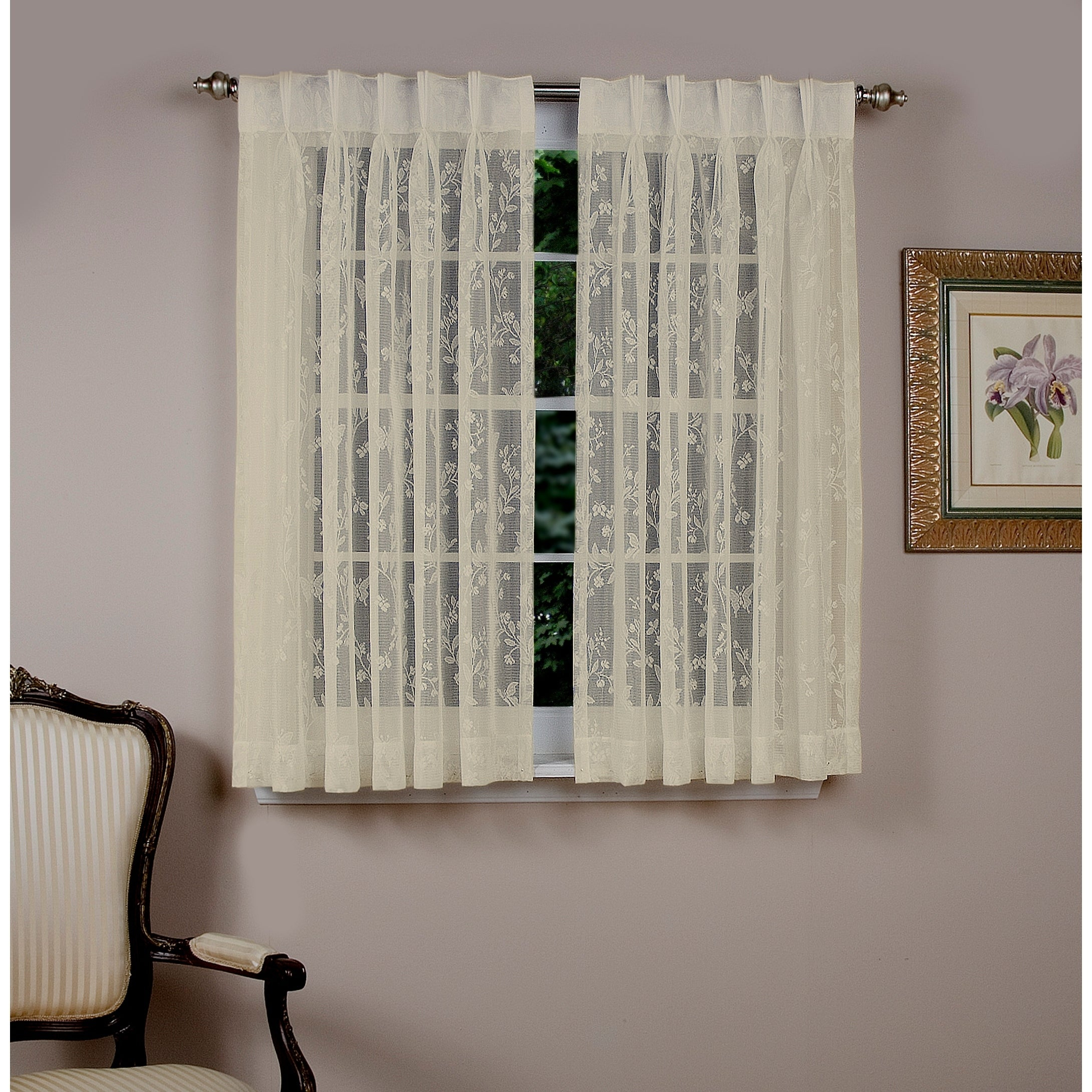 Isabella Lace Pinch Pleated Top W/back Tabs Short Curtain Panel Pair In Luxury Collection Summit Sheer Curtain Panel Pairs (View 8 of 20)