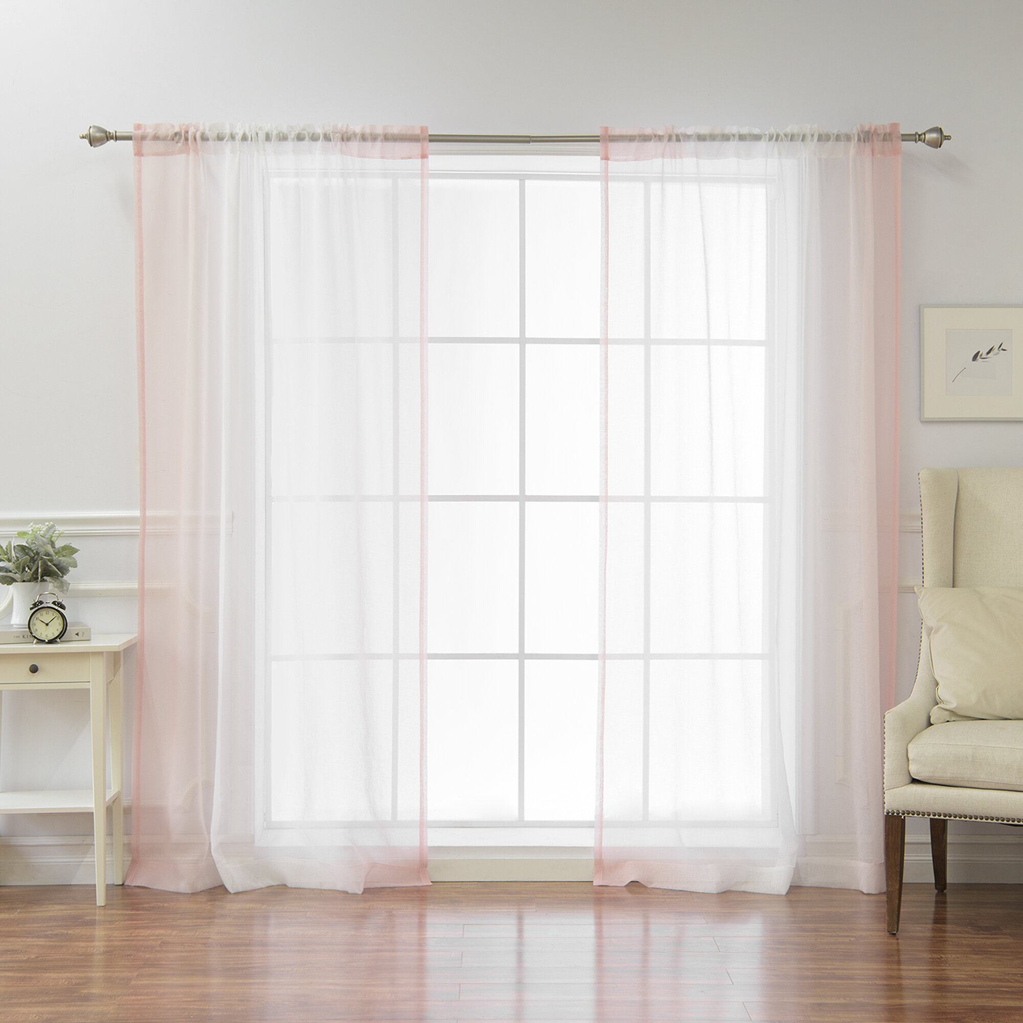 Isidro Solid Sheer Rod Pocket Curtain Panels Intended For Ombre Faux Linen Semi Sheer Curtains (View 19 of 20)