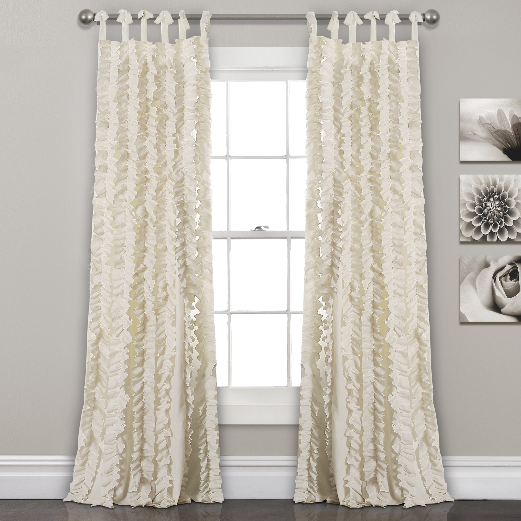 Ivory 84'x40′ Sophia Ruffle Window Curtain Set For Julia Striped Room Darkening Window Curtain Panel Pairs (View 18 of 20)