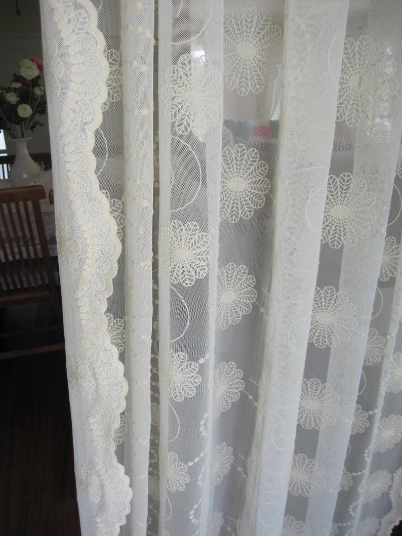 Ivory Sheer Cotton Lace Tulle Curtain Panels – Beach Cottage Shabby Chic Home Decor Embroidered – French Door Window Curtain Intended For Tulle Sheer With Attached Valance And Blackout 4 Piece Curtain Panel Pairs (View 20 of 30)