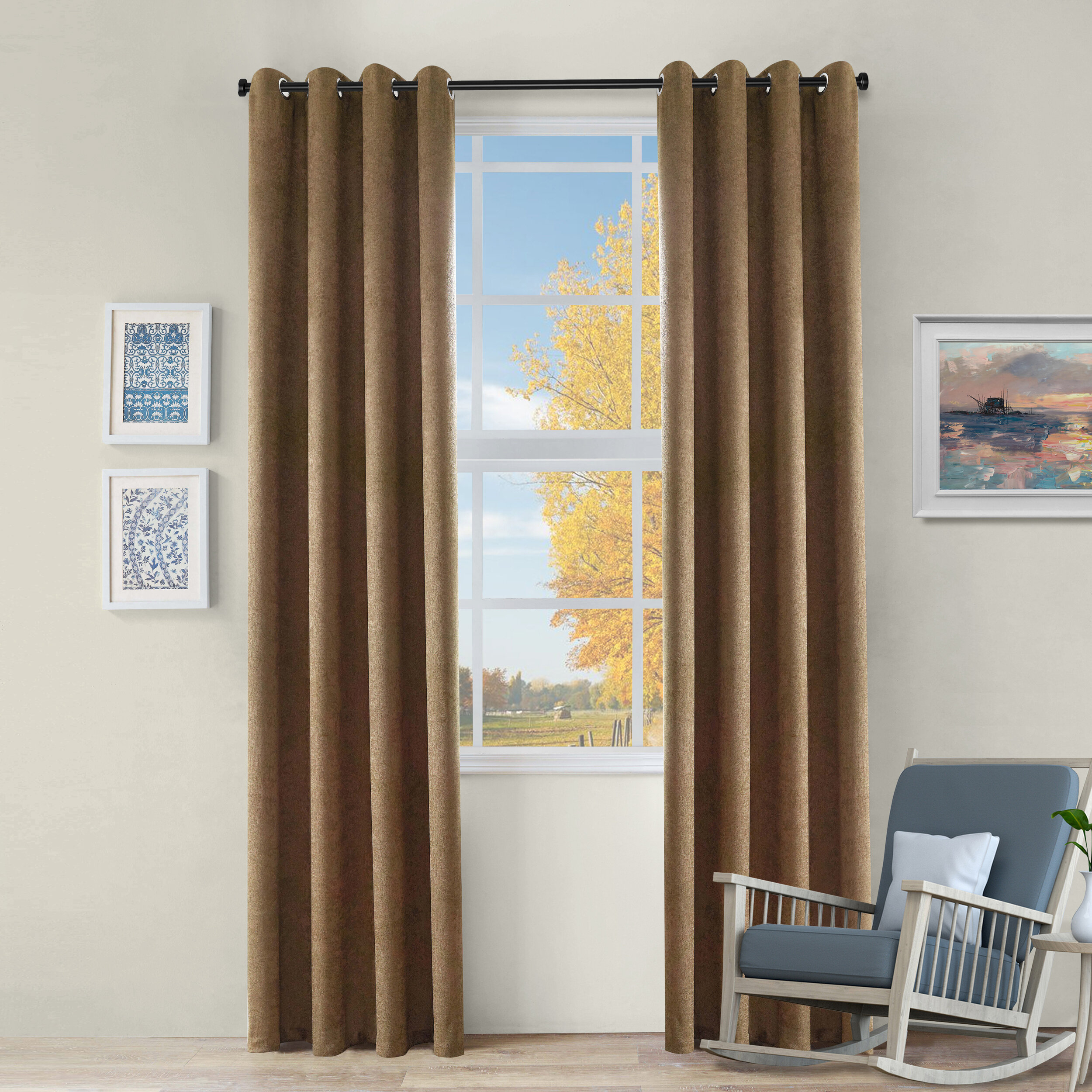 Ivy Bronx Cherri Solid Color Blackout Thermal Grommet Panel Inside Solid Insulated Thermal Blackout Curtain Panel Pairs (View 19 of 30)