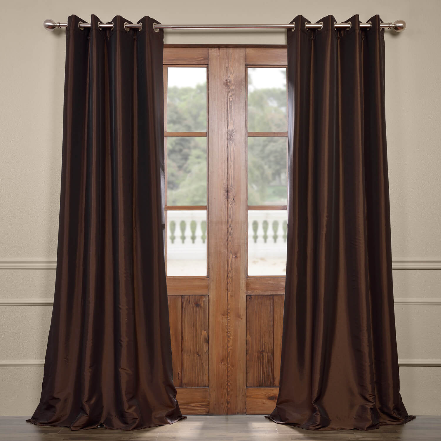 Java Grommet Blackout Faux Silk Taffeta Curtain In Solid Faux Silk Taffeta Graphite Single Curtain Panels (View 22 of 30)