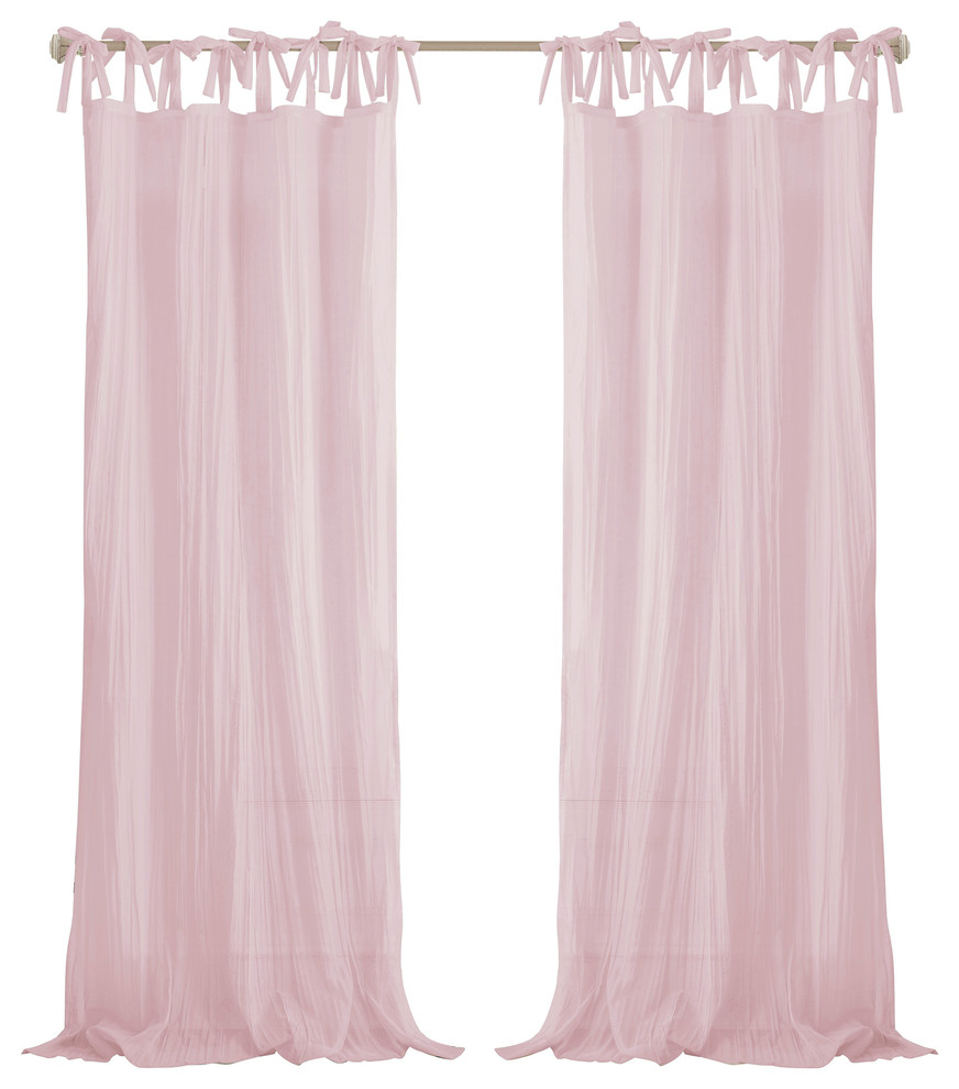 """Jolie Sheer Tie Top Window Curtain, Pink, 52""""x84"""" inside Tacoma Double-Blackout Grommet Curtain Panels (Image 10 of 30)"""