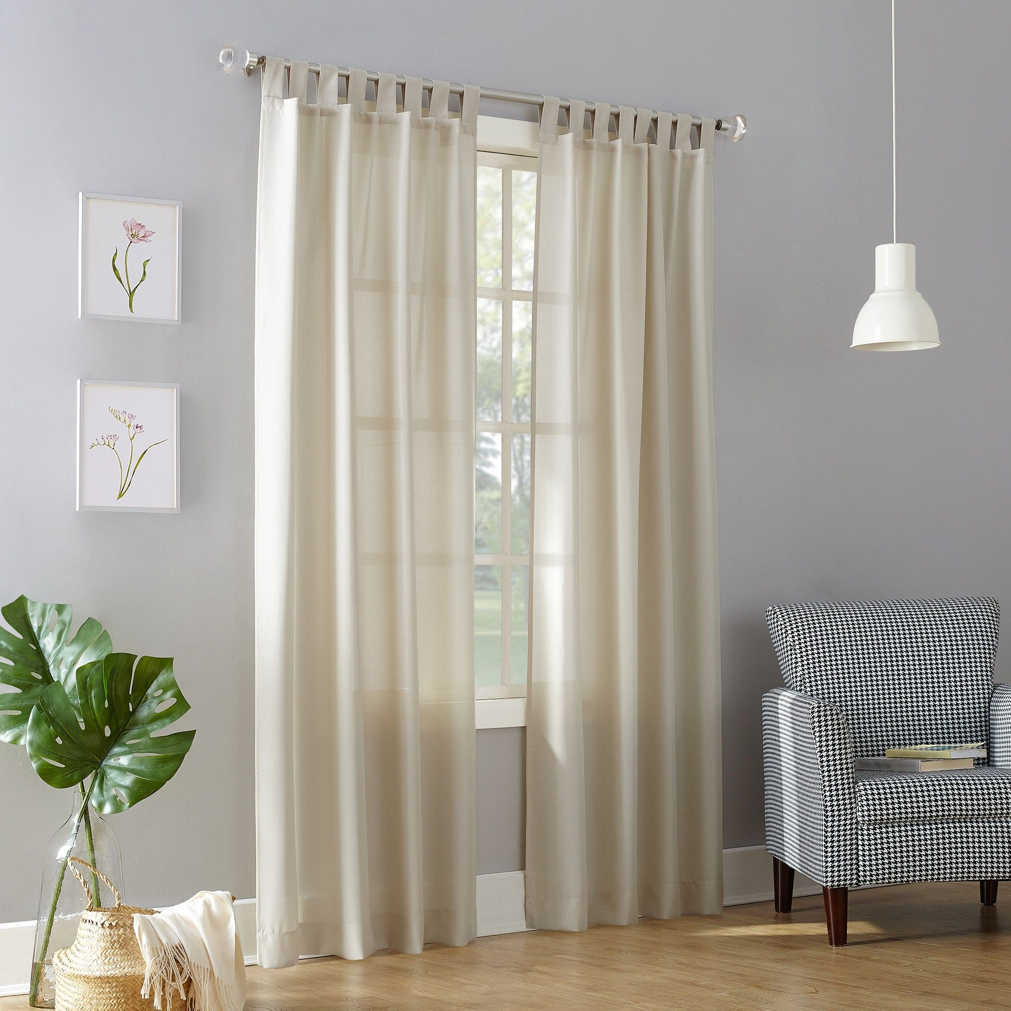 Joshua Casual Textured Semi Sheer Tab Top Curtain Panel Ecru In Archaeo Washed Cotton Twist Tab Single Curtain Panels (View 6 of 20)