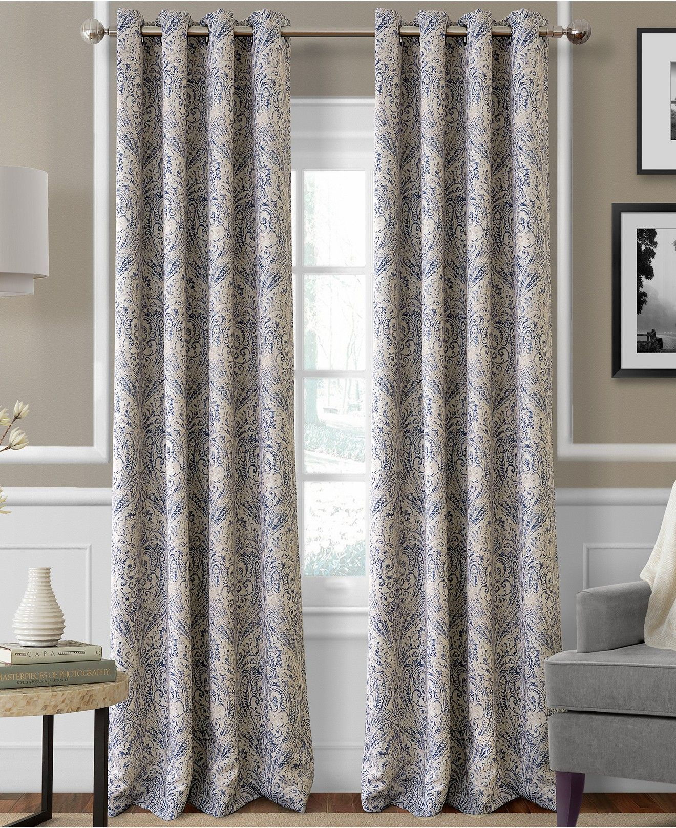 Julianne Blackout Grommet Panel Collection   Home Decor With Regard To Sunsmart Dahlia Paisley Printed Total Blackout Single Window Curtain Panels (View 13 of 30)