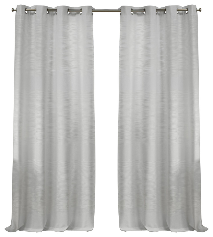 """Kadomo Striped Grommet Top Curtain Panels, Set Of 2, White, 54""""x84"""" Intended For Wilshire Burnout Grommet Top Curtain Panel Pairs (Gallery 27 of 30)"""