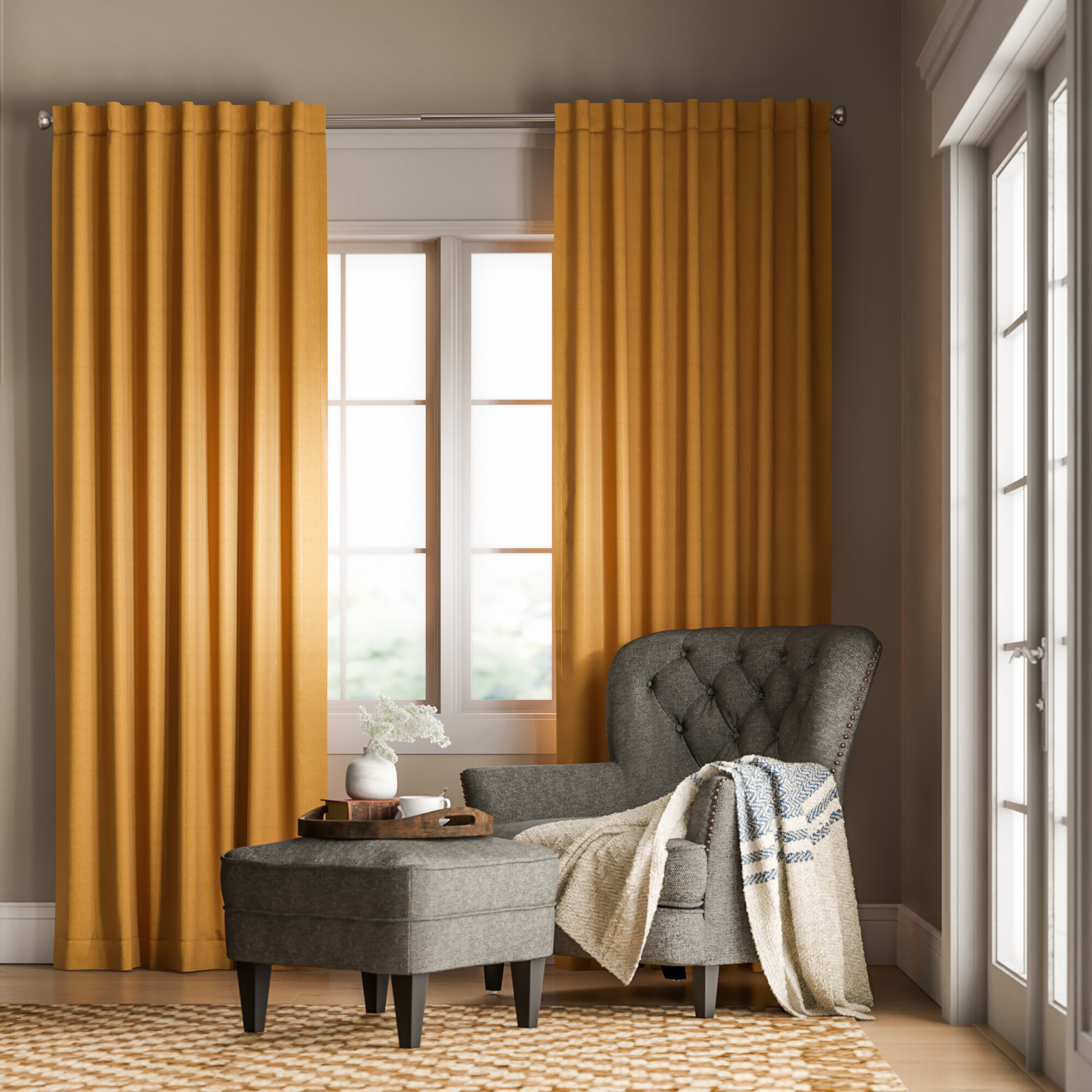 Kaler Solid Rod Pocket Single Curtain Panel Within Inez Patio Door Window Curtain Panels (View 17 of 20)