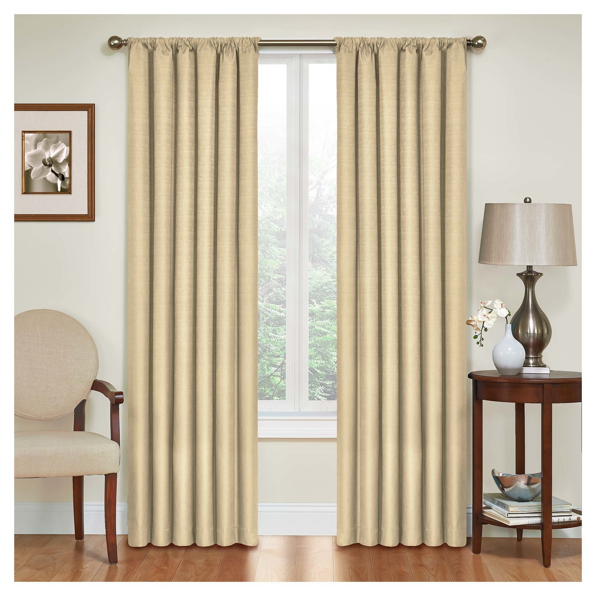 """Kendall Thermaback Blackout Curtain Panel Tan (42""""x95 Regarding Thermaback Blackout Window Curtains (View 9 of 30)"""