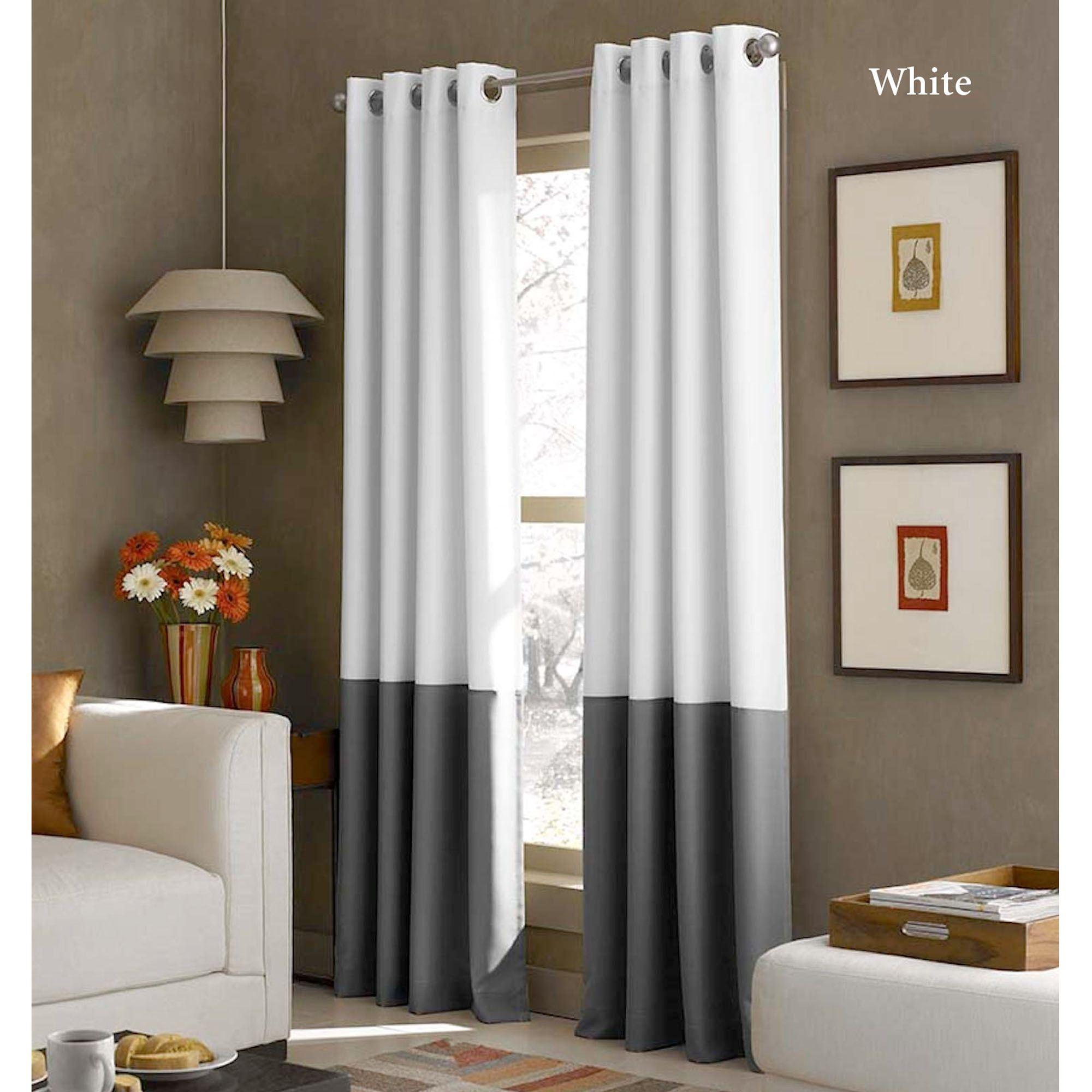 Kendallin Color Block Grommet Curtain Panels With Regard To Lined Grommet Curtain Panels (Gallery 8 of 20)