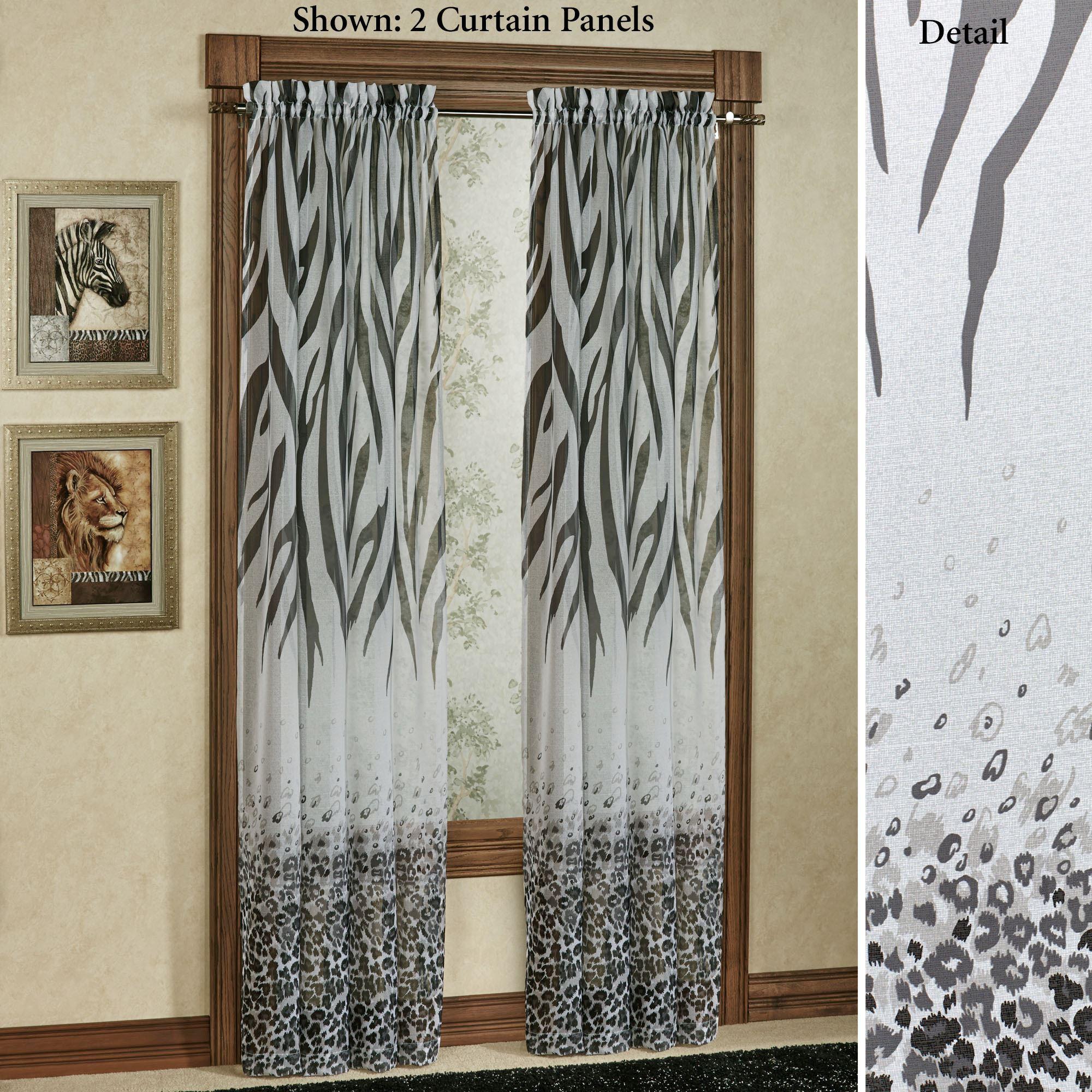 Kenya Safari Black Animal Print Semi Sheer Curtain Panels For Grey Printed Curtain Panels (View 12 of 20)