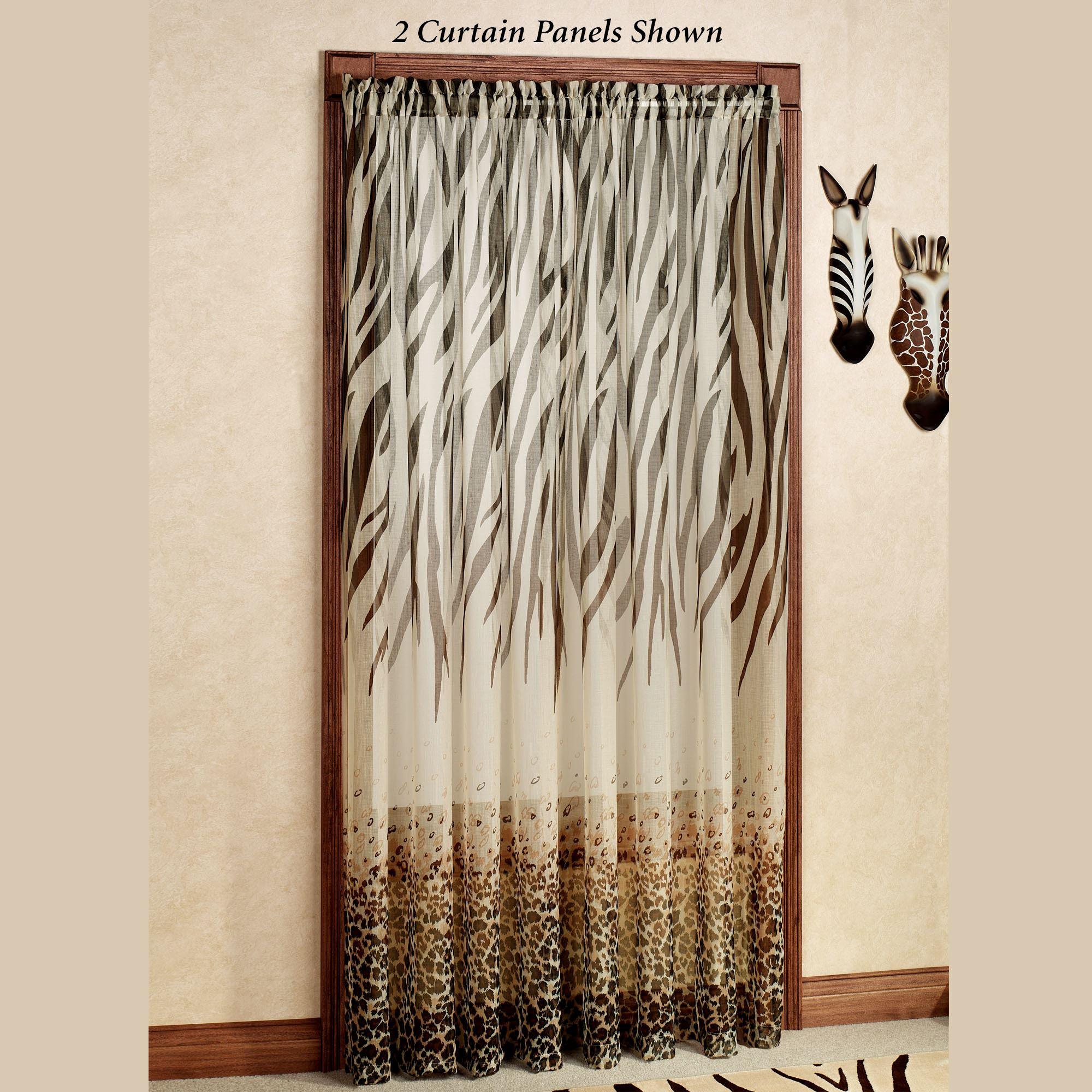 Kenya Safari Brown Animal Print Semi Sheer Curtain Panels Regarding Grey Printed Curtain Panels (View 8 of 20)