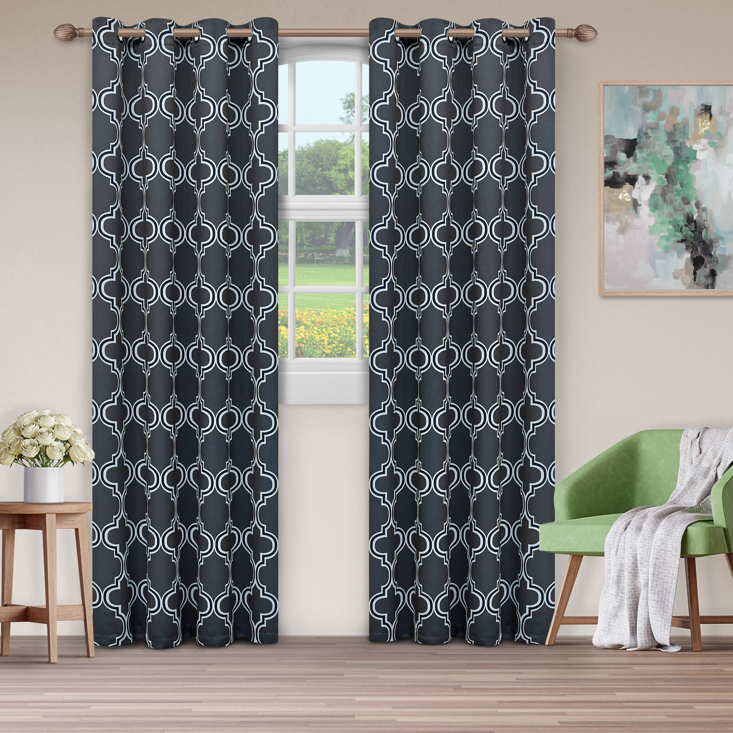 Kinlaw Geometric Blackout Thermal Grommet Panel Pair Regarding Insulated Blackout Grommet Window Curtain Panel Pairs (View 14 of 20)