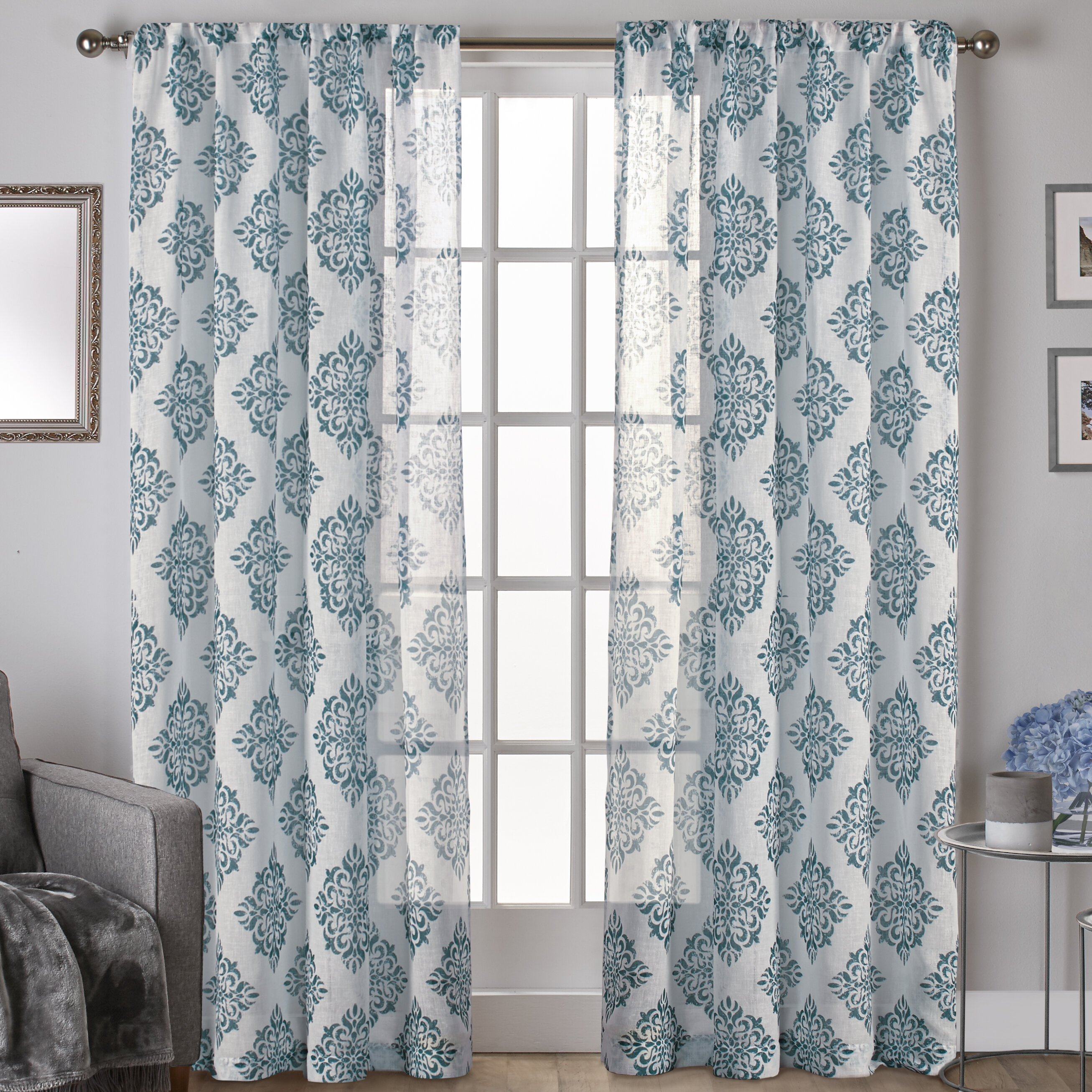 Knisley Belgian Ikat Sheer Rod Pocket Panel Pair With Belgian Sheer Window Curtain Panel Pairs With Rod Pocket (View 16 of 20)