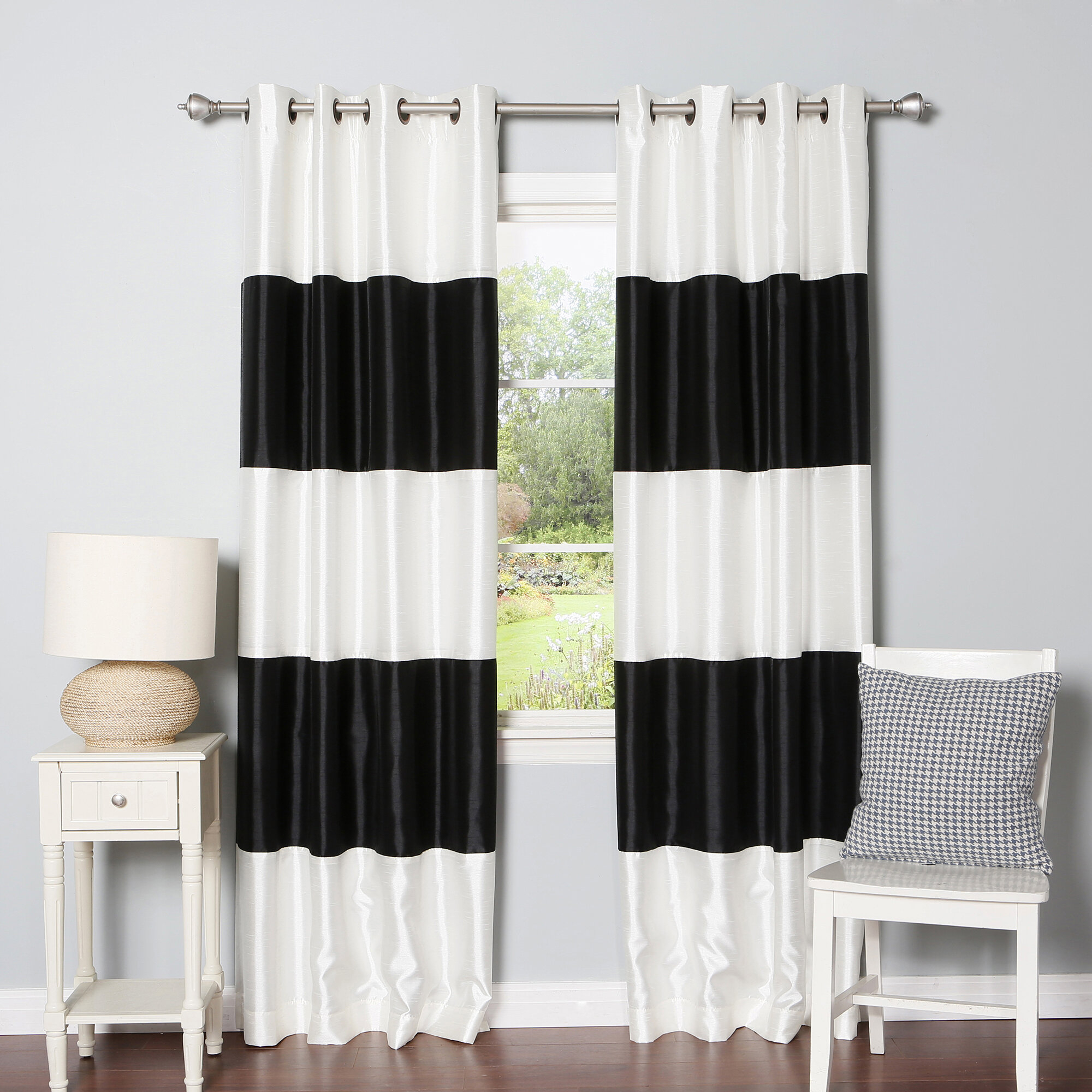 Kulikowski Striped Blackout Thermal Grommet Panel Pair Throughout Thermal Insulated Blackout Curtain Panel Pairs (Gallery 25 of 30)