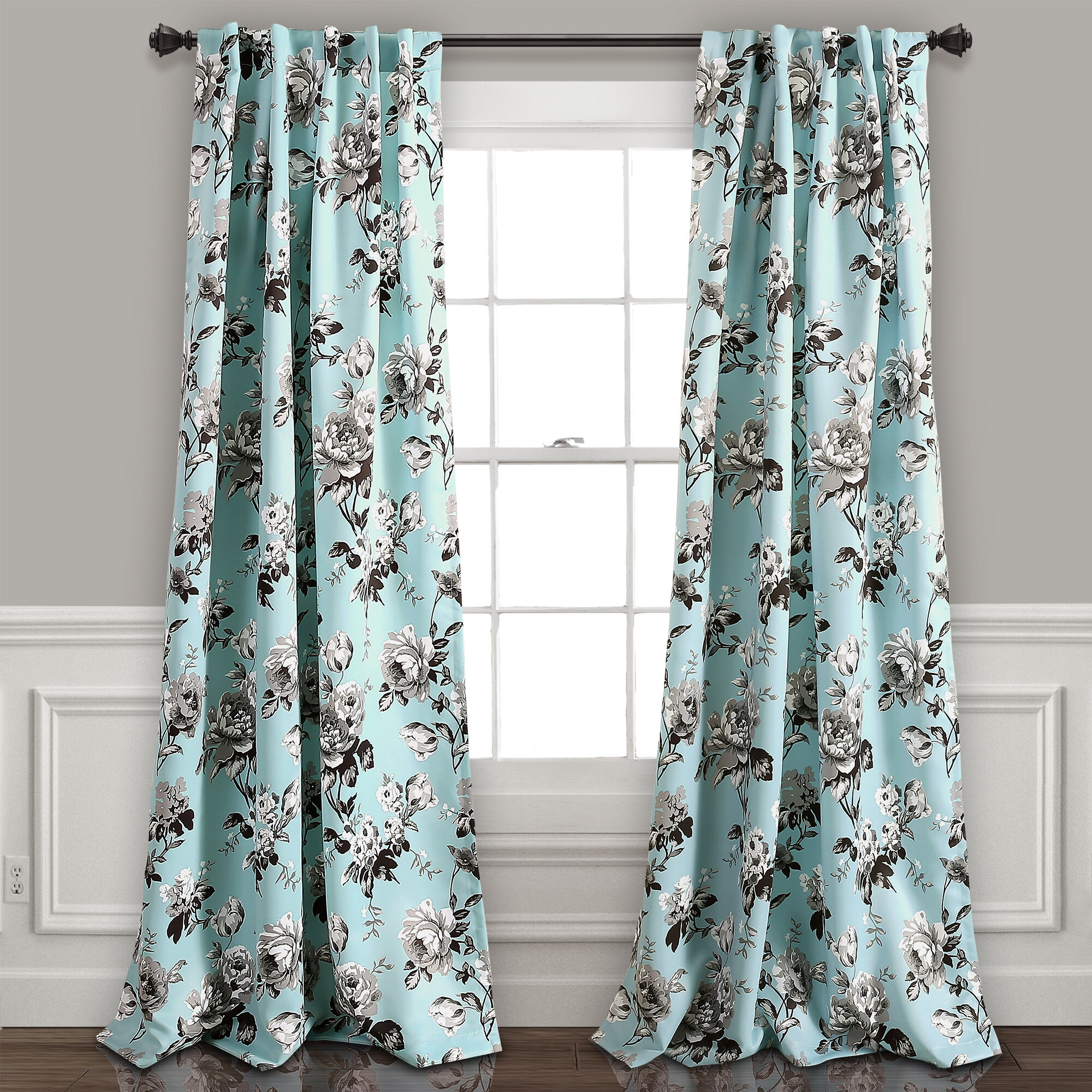Kyles Floral Room Darkening Rod Pocket Window Curtain Panel Intended For Whitman Curtain Panel Pairs (View 22 of 30)