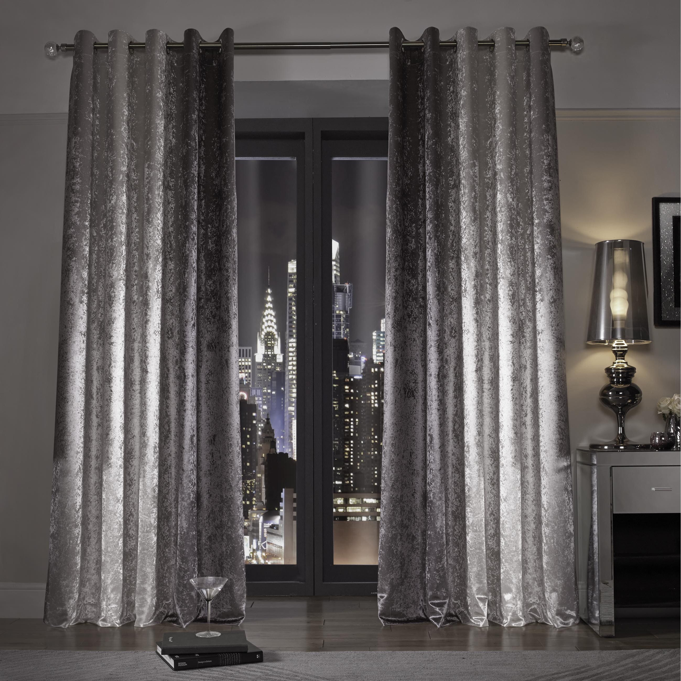 Kylie Minogue At Home Natala Slate Grey Silver Velvet Lined Regarding Velvet Dream Silver Curtain Panel Pairs (View 22 of 31)