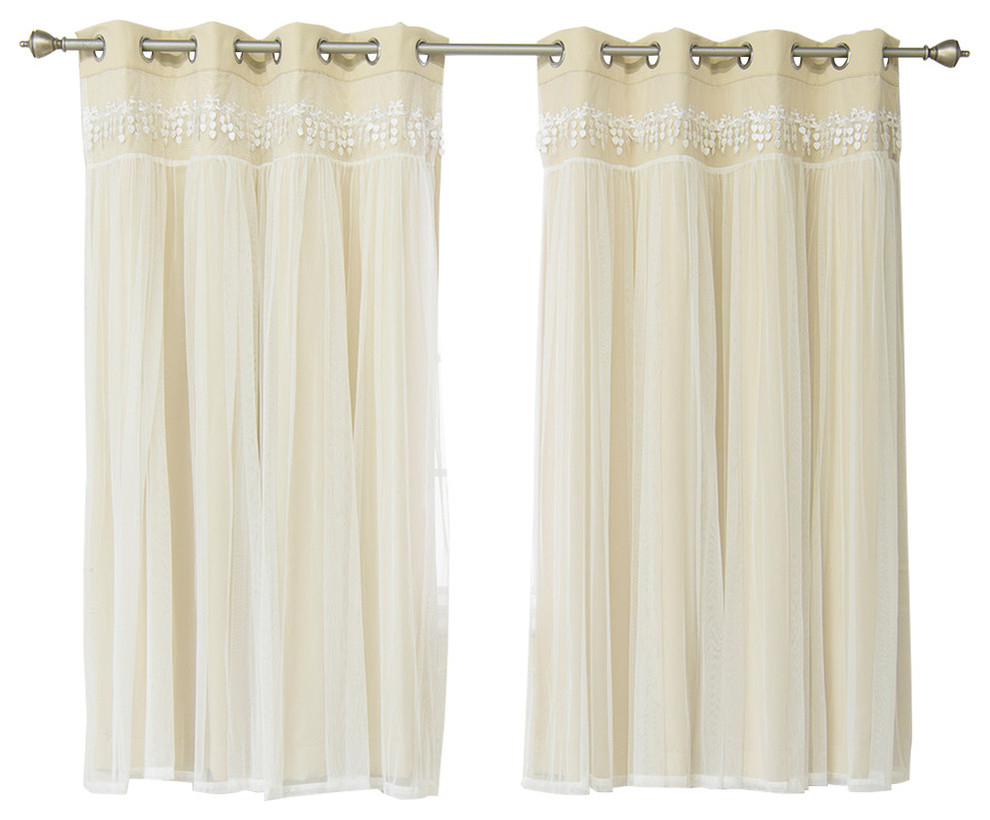"""Lace Overlay Blackout Curtains, Beige, 63"""" with Tacoma Double-Blackout Grommet Curtain Panels (Image 11 of 30)"""