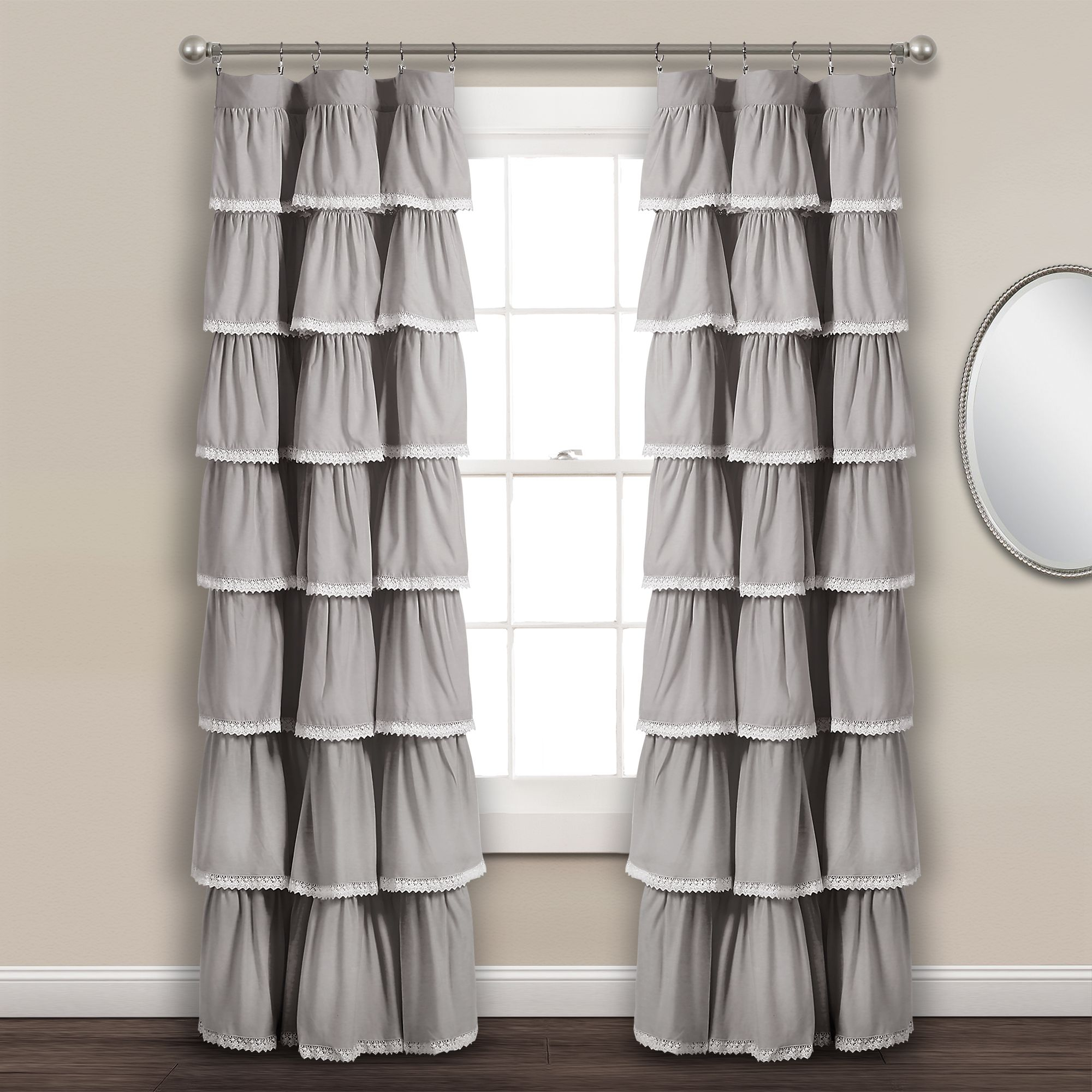 Lace Ruffle Window Curtain Panel | Lush Living Rooms In 2019 Inside Ruffle Diamond Curtain Panel Pairs (View 17 of 20)