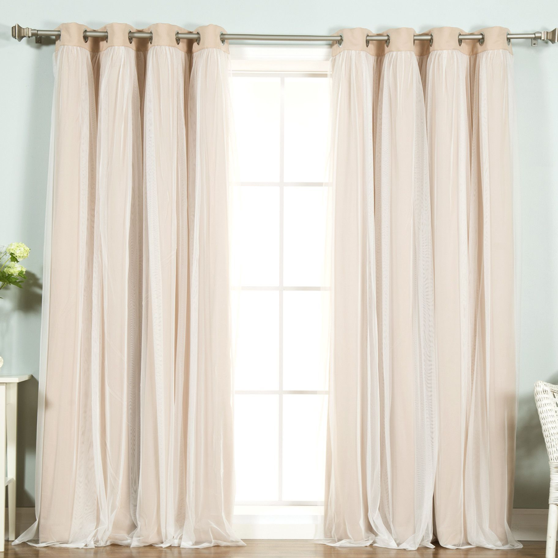 Lace Tulle Overlay Blackout Curtain Panel | Oh Decor Curtain Inside Star Punch Tulle Overlay Blackout Curtain Panel Pairs (View 24 of 30)
