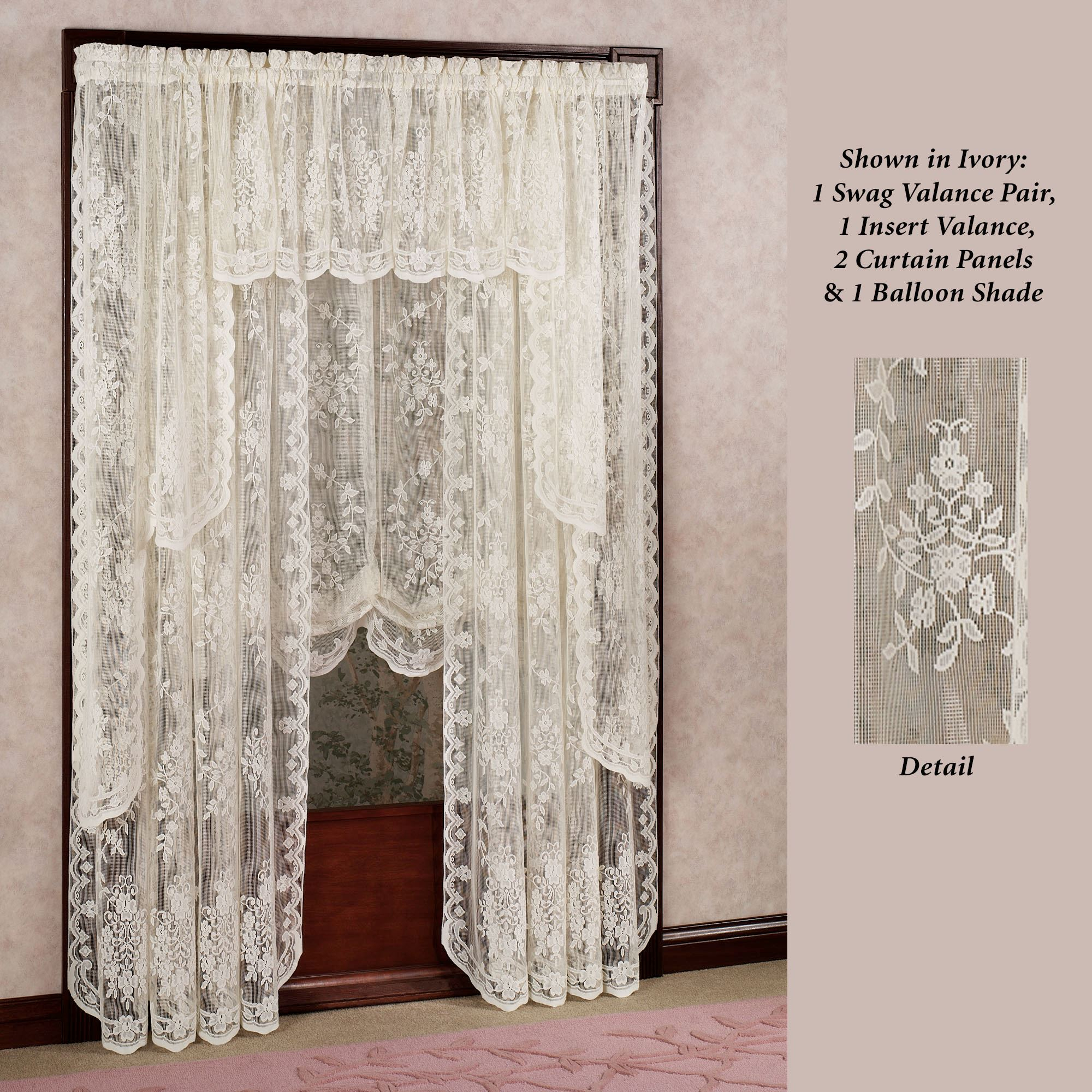 Lace Window Panel Curtains | Flisol Home For Alison Rod Pocket Lace Window Curtain Panels (Image 8 of 20)