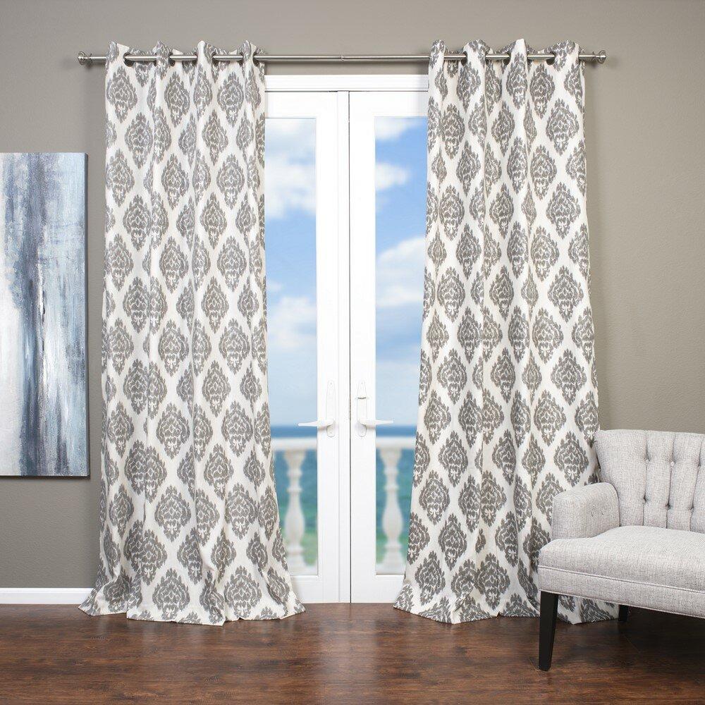 Lambrequin Baroque Ikat; Damask Semi Sheer Grommet Single In Baroque Linen Grommet Top Curtain Panel Pairs (View 15 of 20)
