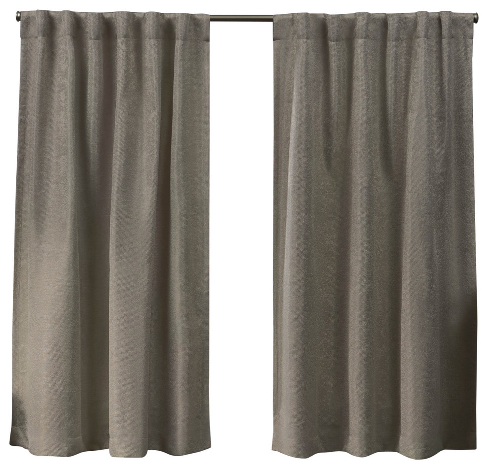 Lancaster Basketweave Blackout Hidden Tab Top Curtain Panel Pair, Latte, 52x63 Intended For Forest Hill Woven Blackout Grommet Top Curtain Panel Pairs (View 8 of 20)