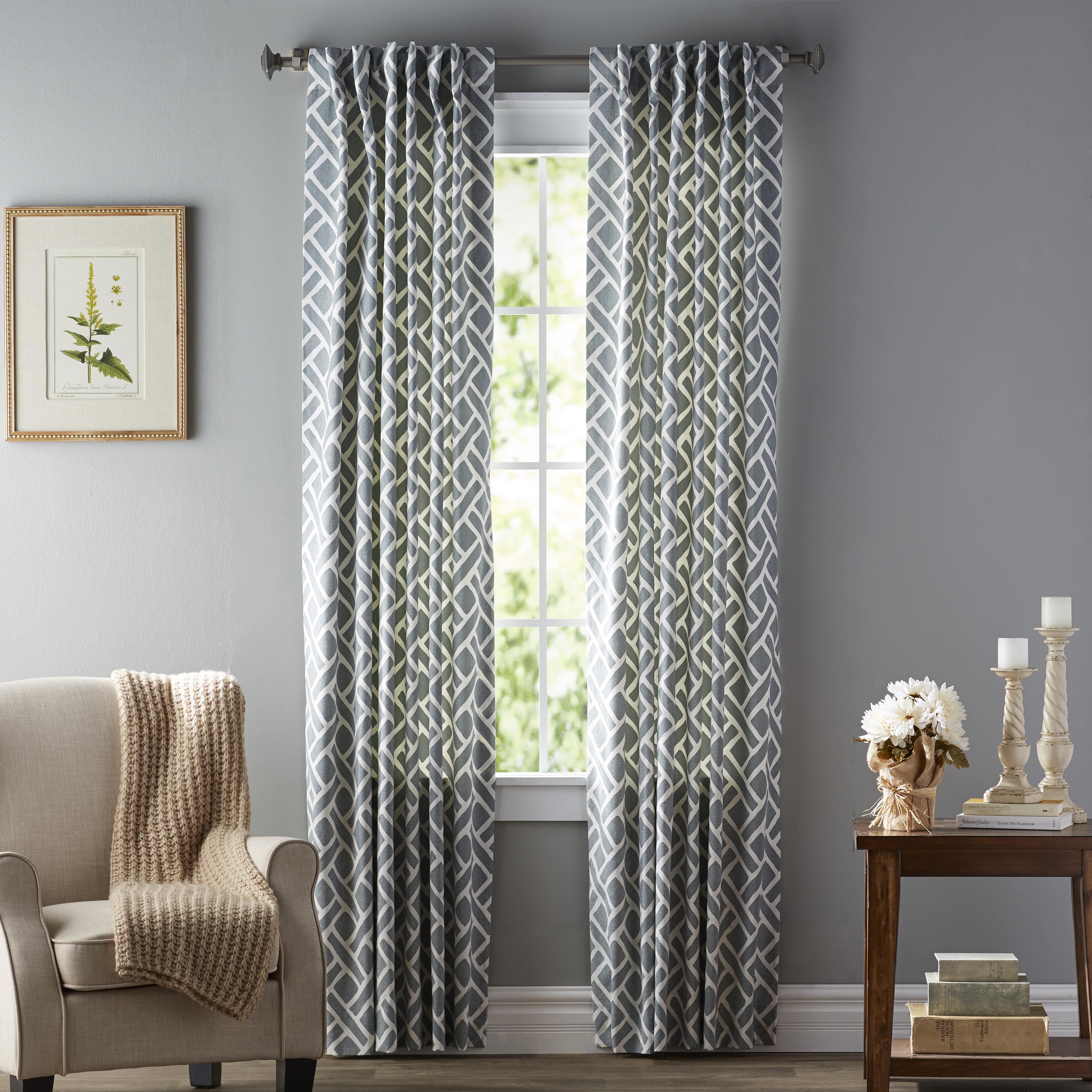 Langley Street Berumen Geometric Room Darkening Rod Pocket With Luxury Collection Summit Sheer Curtain Panel Pairs (View 11 of 20)