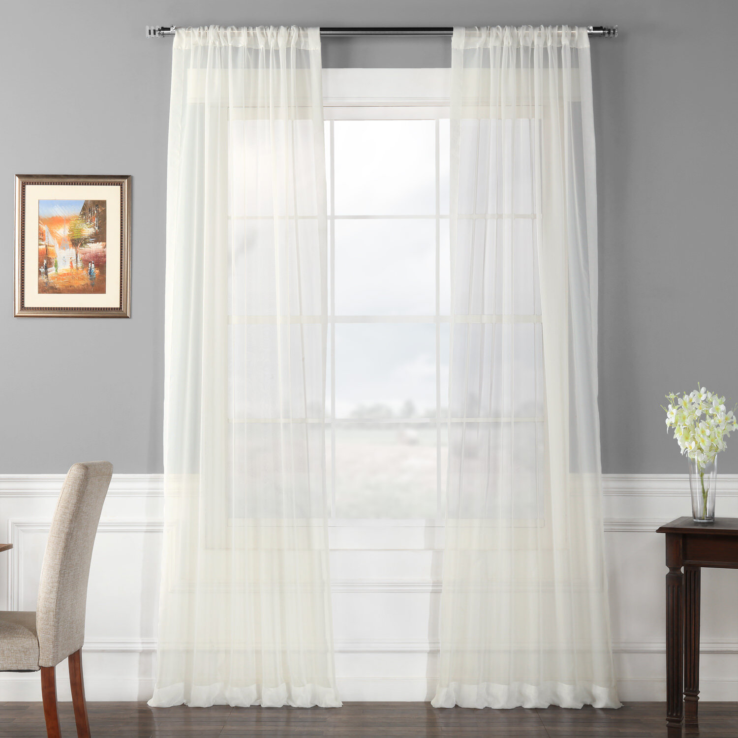 Lark Manor Emie Solid Sheer Rod Pocket Curtain Panels Inside Luxury Collection Cranston Sheer Curtain Panel Pairs (View 12 of 20)