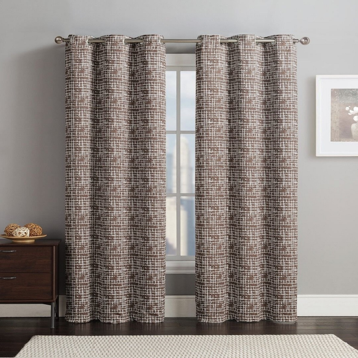 Lenox Thermal Room-Darkening Curtain Panels With Grommets (Set Of 2) -  76X96 - Chocolate throughout Grommet Room Darkening Curtain Panels (Image 10 of 20)
