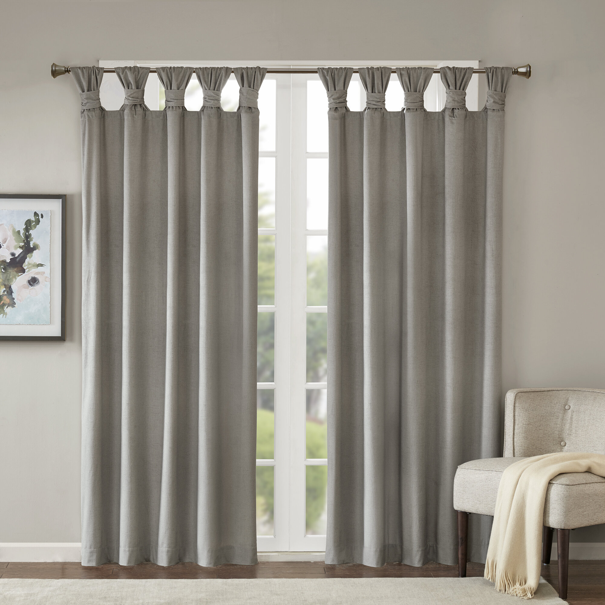 Lewiston Solid Color Room Darkening Tab Top Single Curtain Panel Inside Twisted Tab Lined Single Curtain Panels (View 14 of 30)