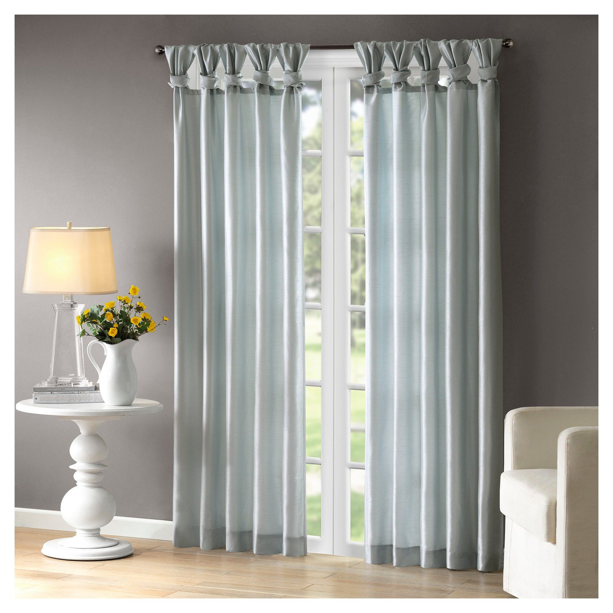 "Lillian Twisted Tab Lined Curtain Panel Dusty Aqua 50""x108 Within Twisted Tab Lined Single Curtain Panels (View 9 of 30)"