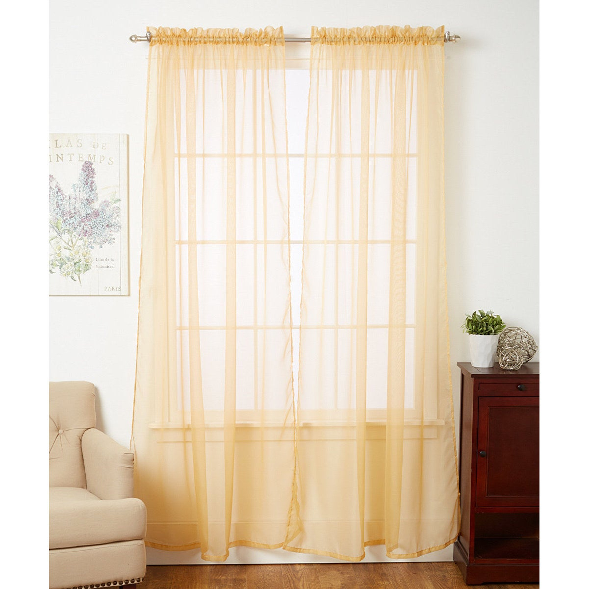 Linda Sheer Voile 4 Pack Window Curtain Panel Pairs – 55 X 84 Pertaining To Pairs To Go Victoria Voile Curtain Panel Pairs (View 11 of 20)