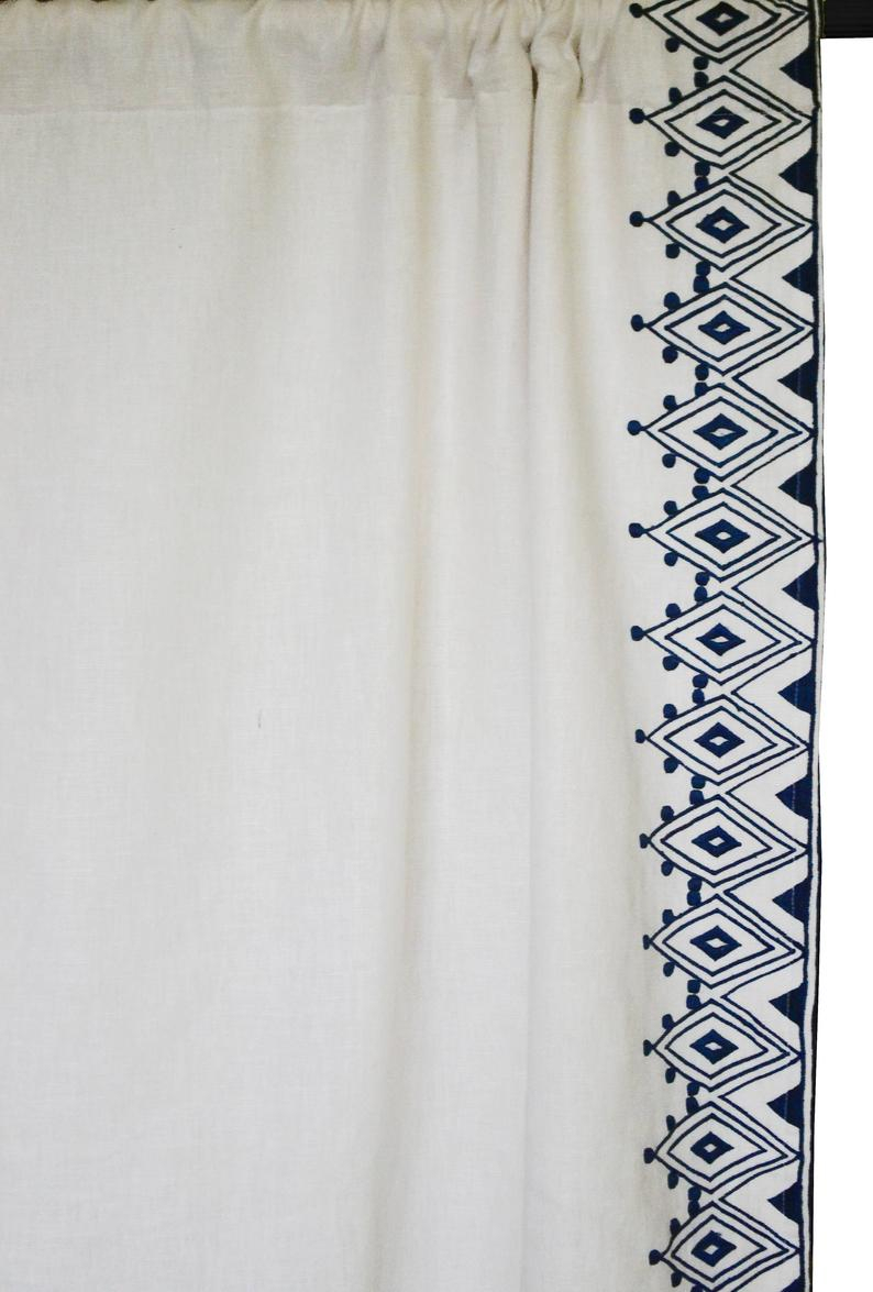 Linen Curtain, Custom Curtains, Moroccan Embroidery Curtain Panels, Housewarming Gift, Window Curtain Drape, Embroidered Curtains Drapes Throughout Signature French Linen Curtain Panels (View 24 of 30)