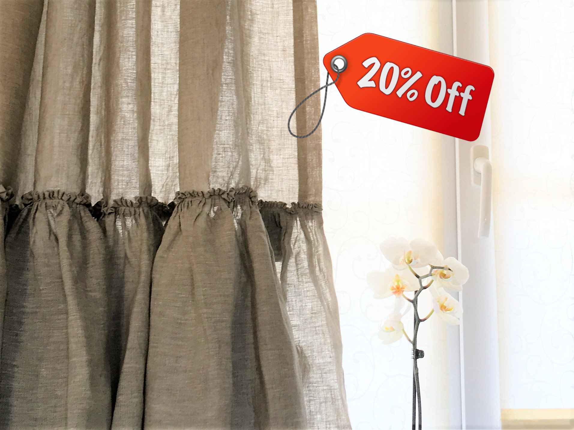 Linen Kitchen Curtains Set Ruffle Farmhouse Curtains Linen Cafe Curtain Shabby Chic Curtains Intended For Signature French Linen Curtain Panels (View 20 of 30)