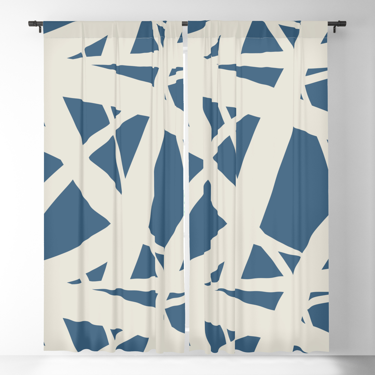 Linen White & Blue Abstract Mosaic Pattern 3 Pairs To 2020 Color Of The  Year Chinese Porcelain Blackout Curtainpipafineart Inside Abstract Blackout Curtain Panel Pairs (Image 17 of 22)