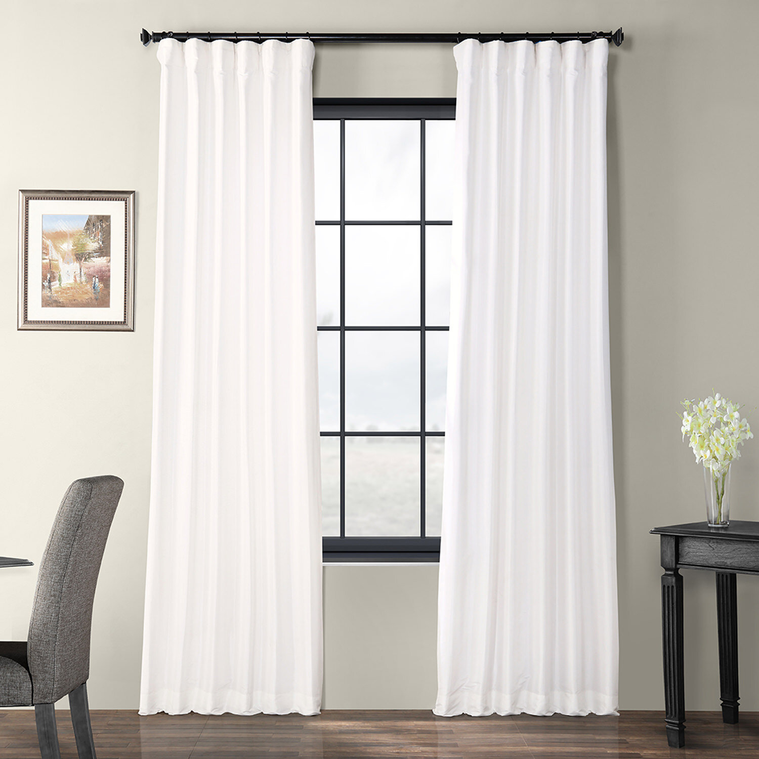 Lochleven Faux Silk Taffeta Solid Room Polyester Darkening Single Curtain Panel Pertaining To Solid Faux Silk Taffeta Graphite Single Curtain Panels (View 23 of 30)