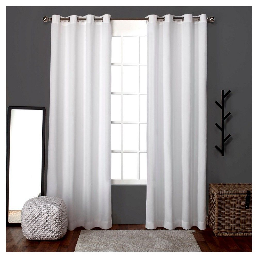 "Loha Linen Window Curtain Panel Pair White (52""x96 Throughout Sugar Creek Grommet Top Loha Linen Window Curtain Panel Pairs (View 14 of 30)"