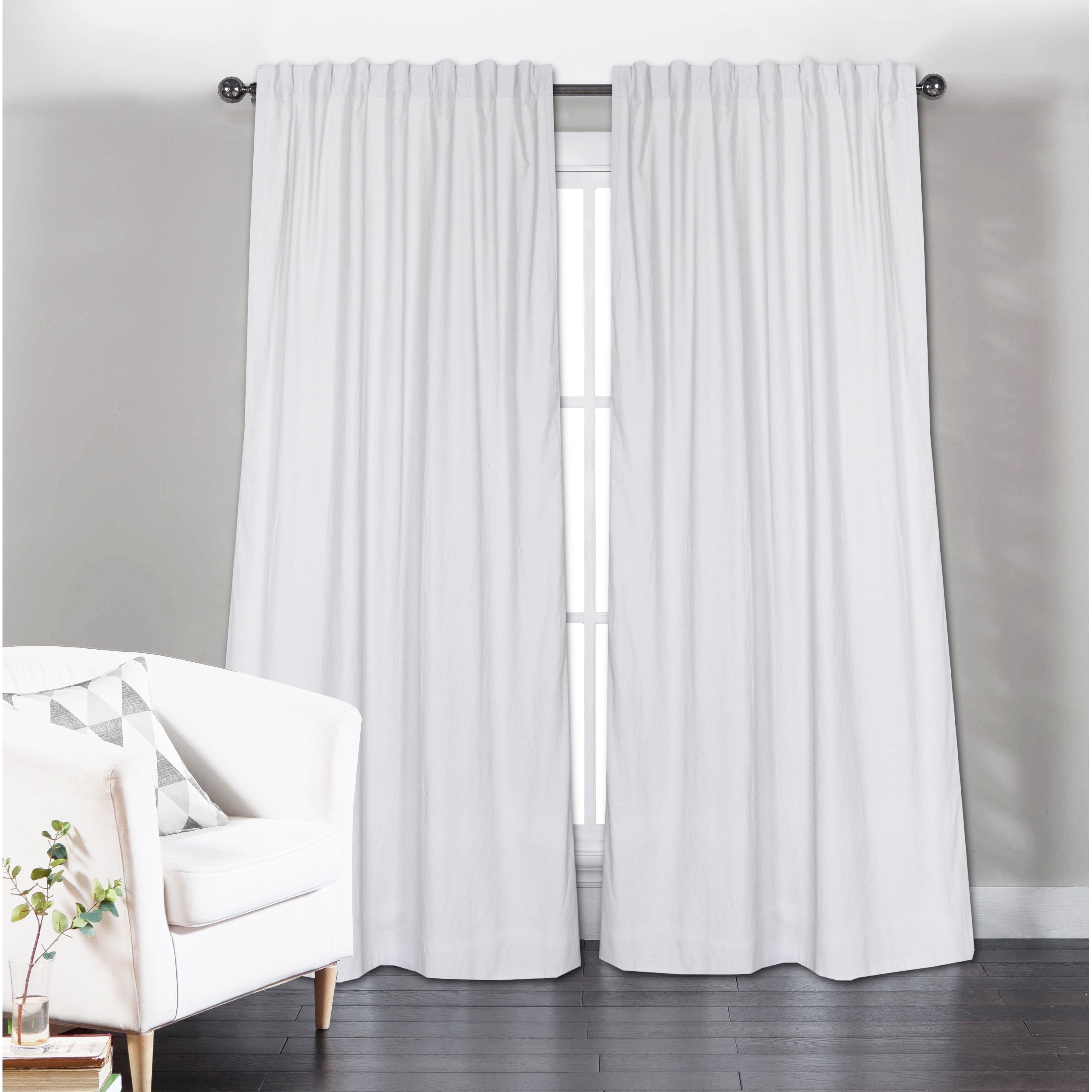Long Solid Cotton Curtain Panel, White(Set Of 2) Throughout Solid Cotton Curtain Panels (View 24 of 30)