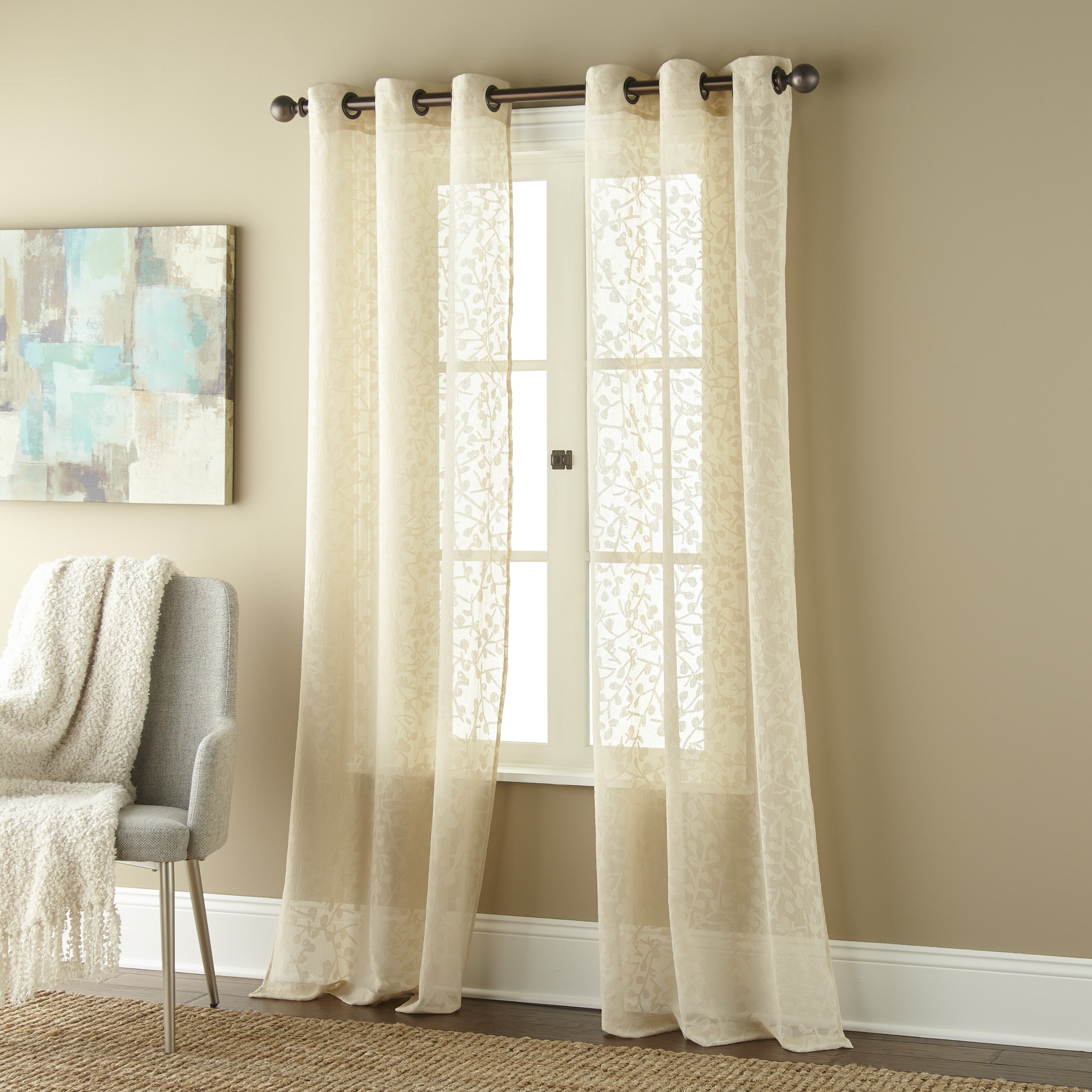 Louth Willow Floral Semi Sheer Grommet Curtain Panels In Willow Rod Pocket Window Curtain Panels (View 17 of 30)