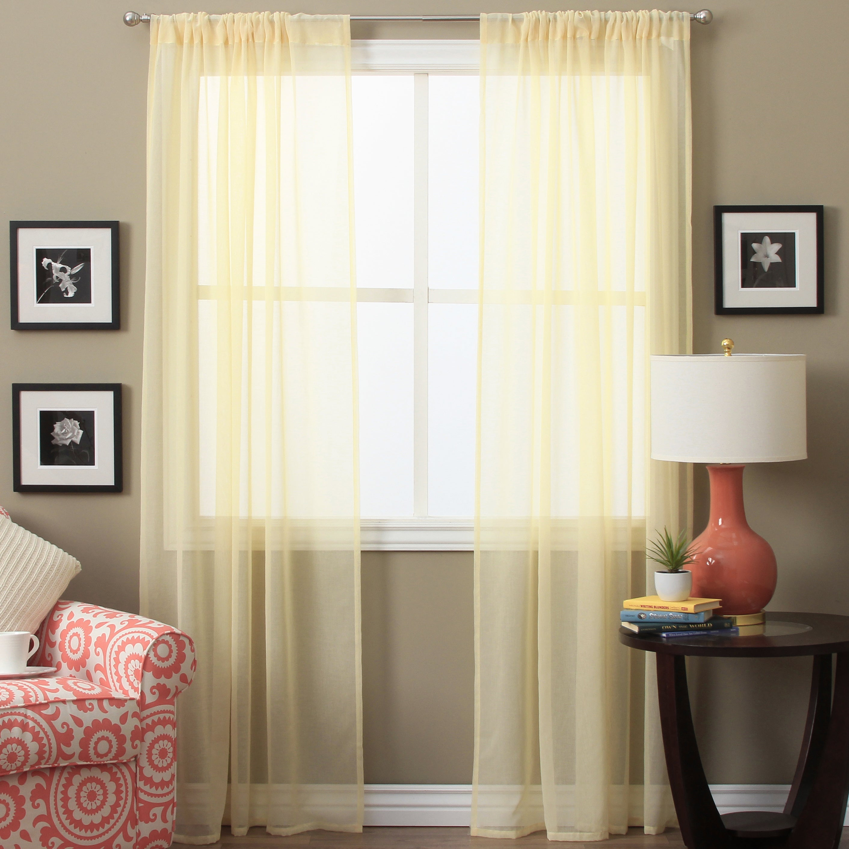 Lucerne 72 Inch Sheer Curtain Panel Pair – 52 X 72 Throughout Luxury Collection Summit Sheer Curtain Panel Pairs (View 2 of 20)