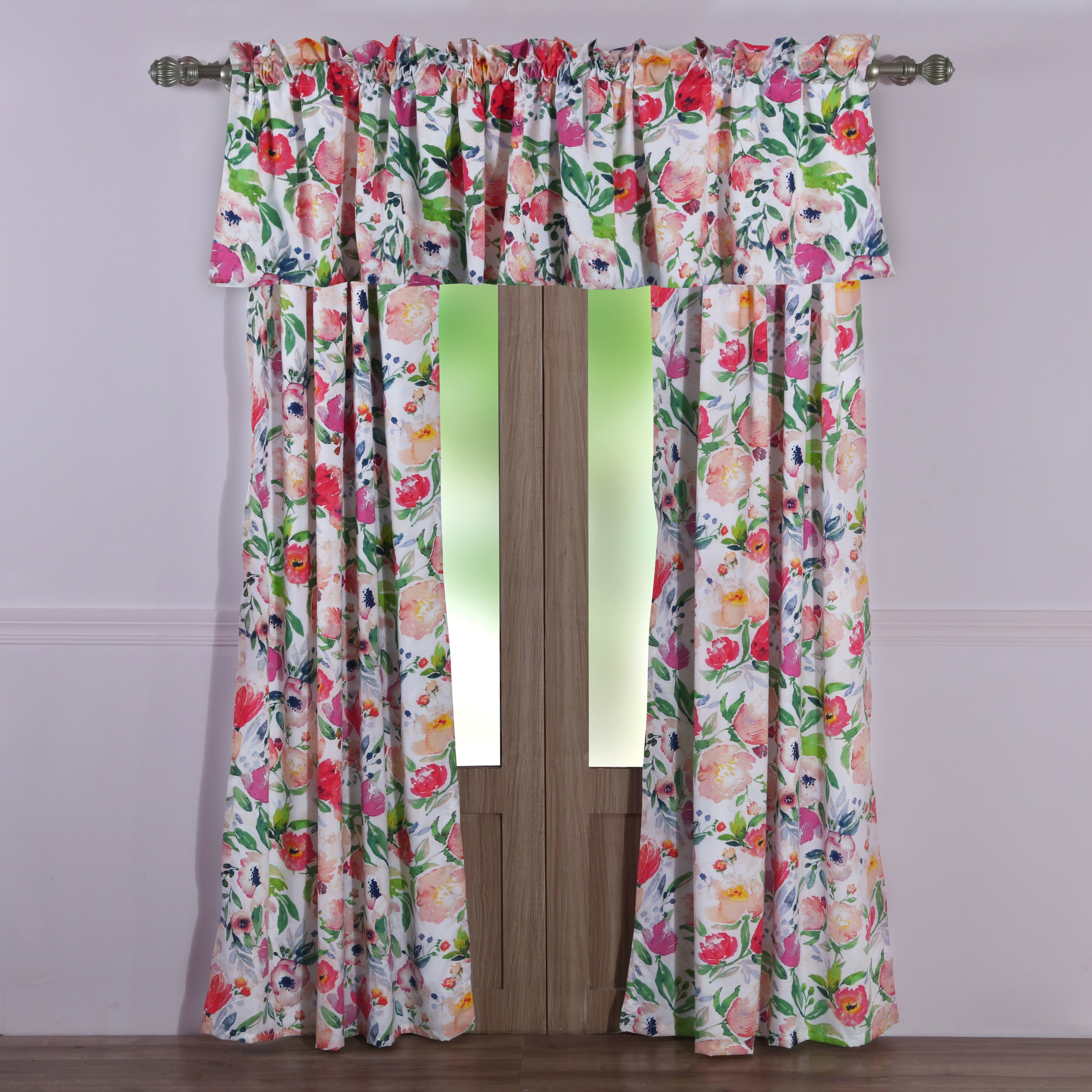 Ludington Floral Semi Sheer Rod Pocket Curtain Panels Inside Dolores Room Darkening Floral Curtain Panel Pairs (View 19 of 20)