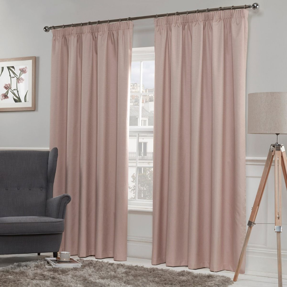 Luna Blush Luxury Thermal Blackout Eyelet Curtains Inside All Seasons Blackout Window Curtains (View 19 of 20)