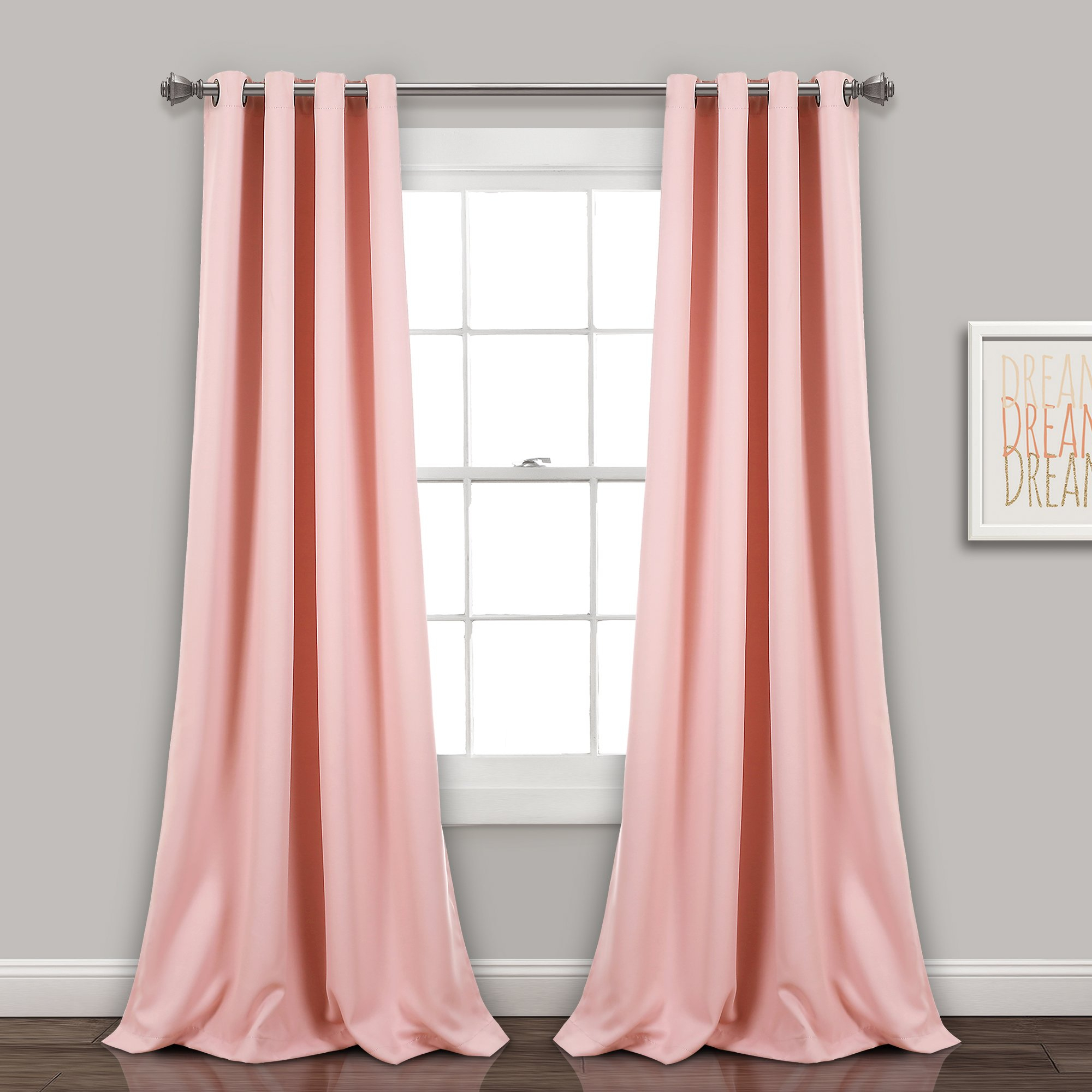Lush Decor 16T002464 Insulated Grommet Blackout Window Curtain Panel Pair, Pink For Insulated Blackout Grommet Window Curtain Panel Pairs (View 16 of 20)